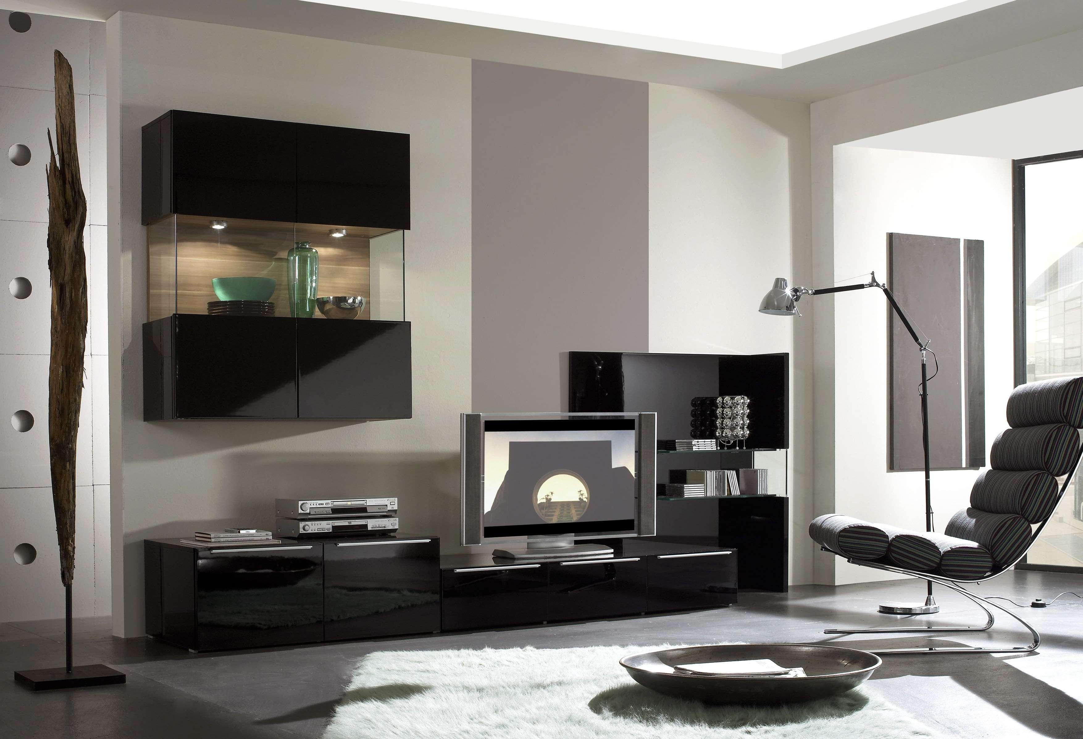 Fabulous Small Spaces Living Room Decors With Modern Black Gloss Intended For Acrylic Tv Stands (View 10 of 15)