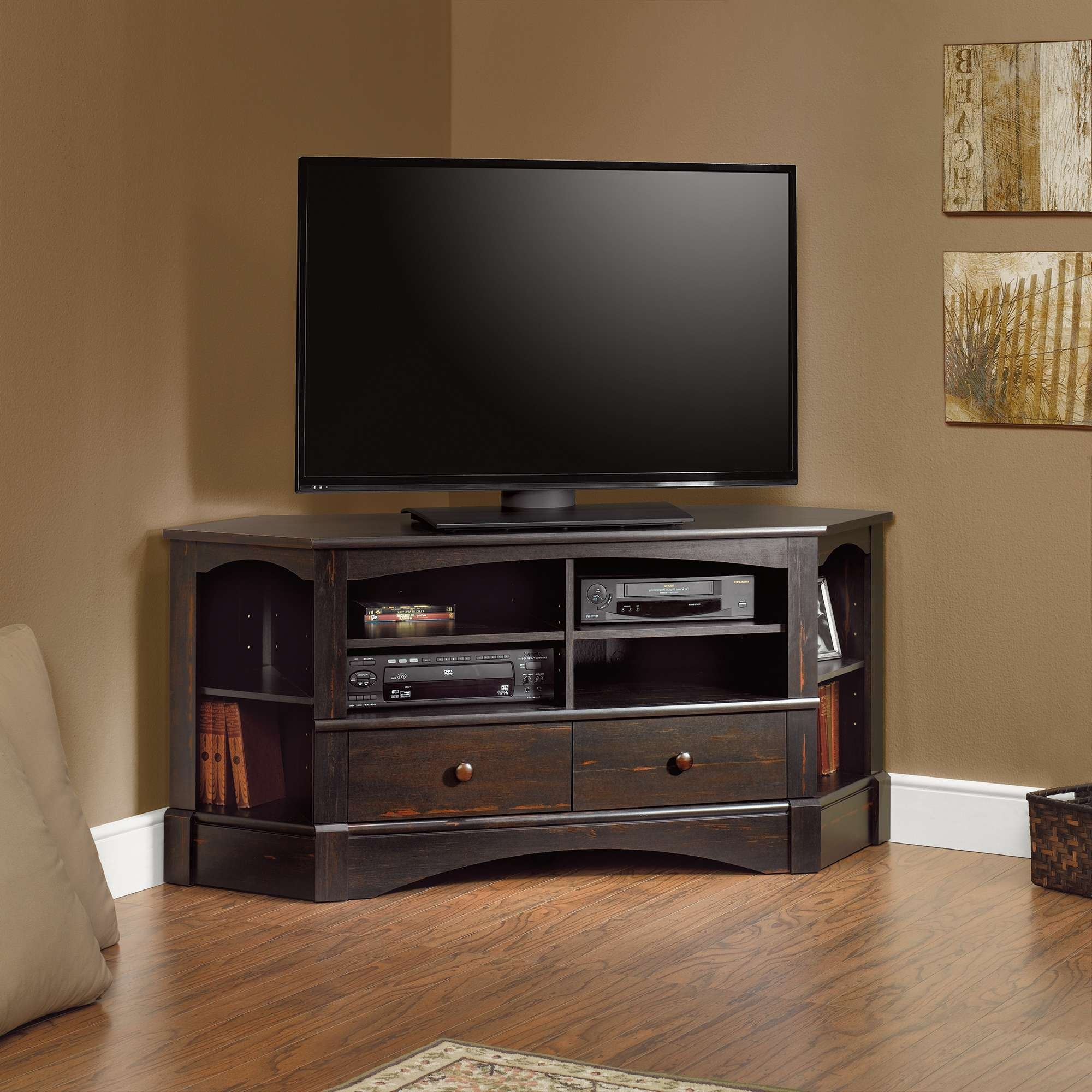 Fancy Matte Varnished Dark Oak Wood Tall Corner Tv Stand For For Dark Wood Corner Tv Stands (View 7 of 15)