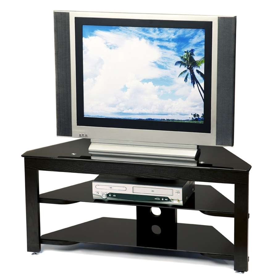 Fantastic Inch Flat Screen Low Profile Tv Stand Black Glass Along Throughout Wood And Glass Tv Stands For Flat Screens (View 2 of 20)
