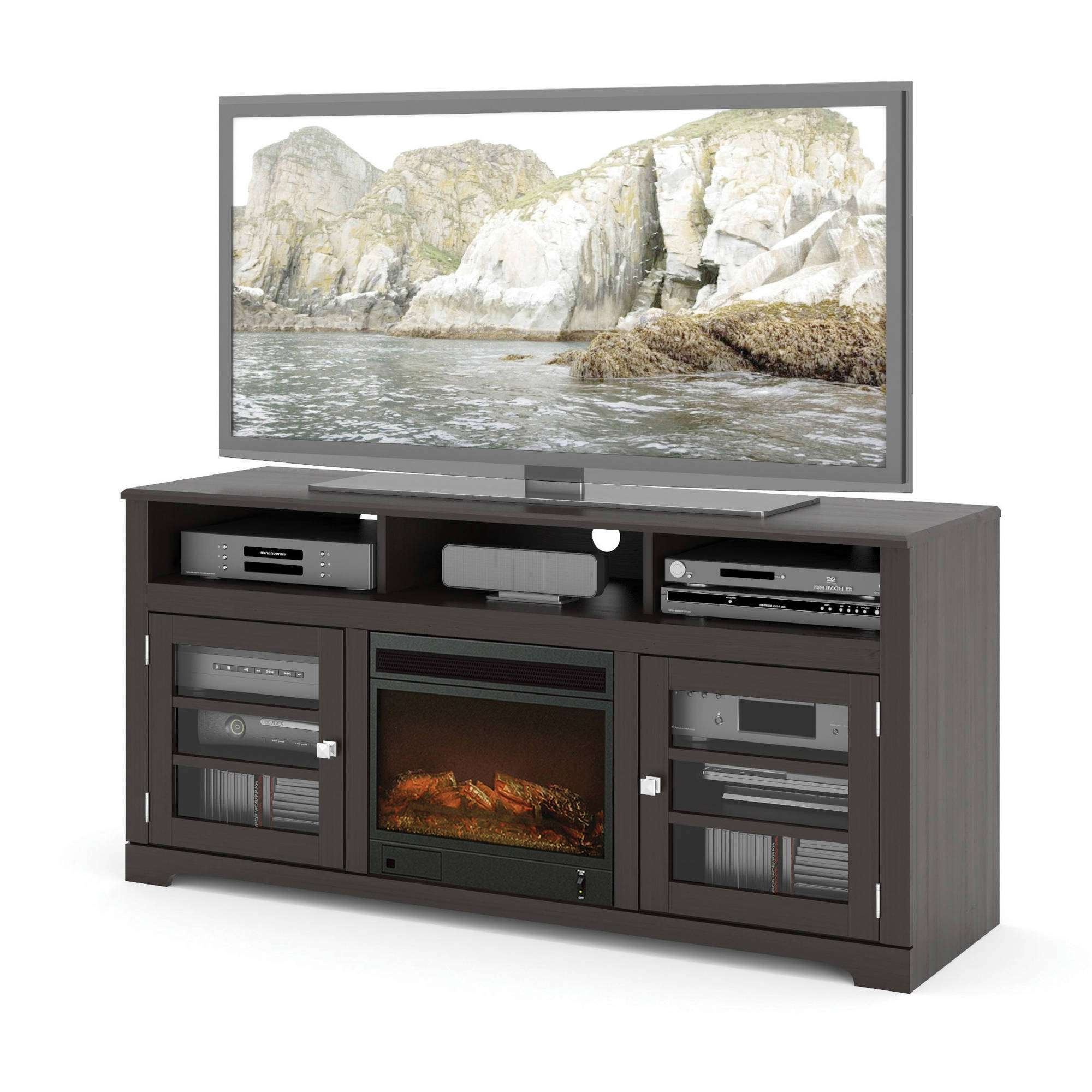 Fireplace Tv Stands – Walmart In Black Tv Stands With Glass Doors (View 3 of 15)