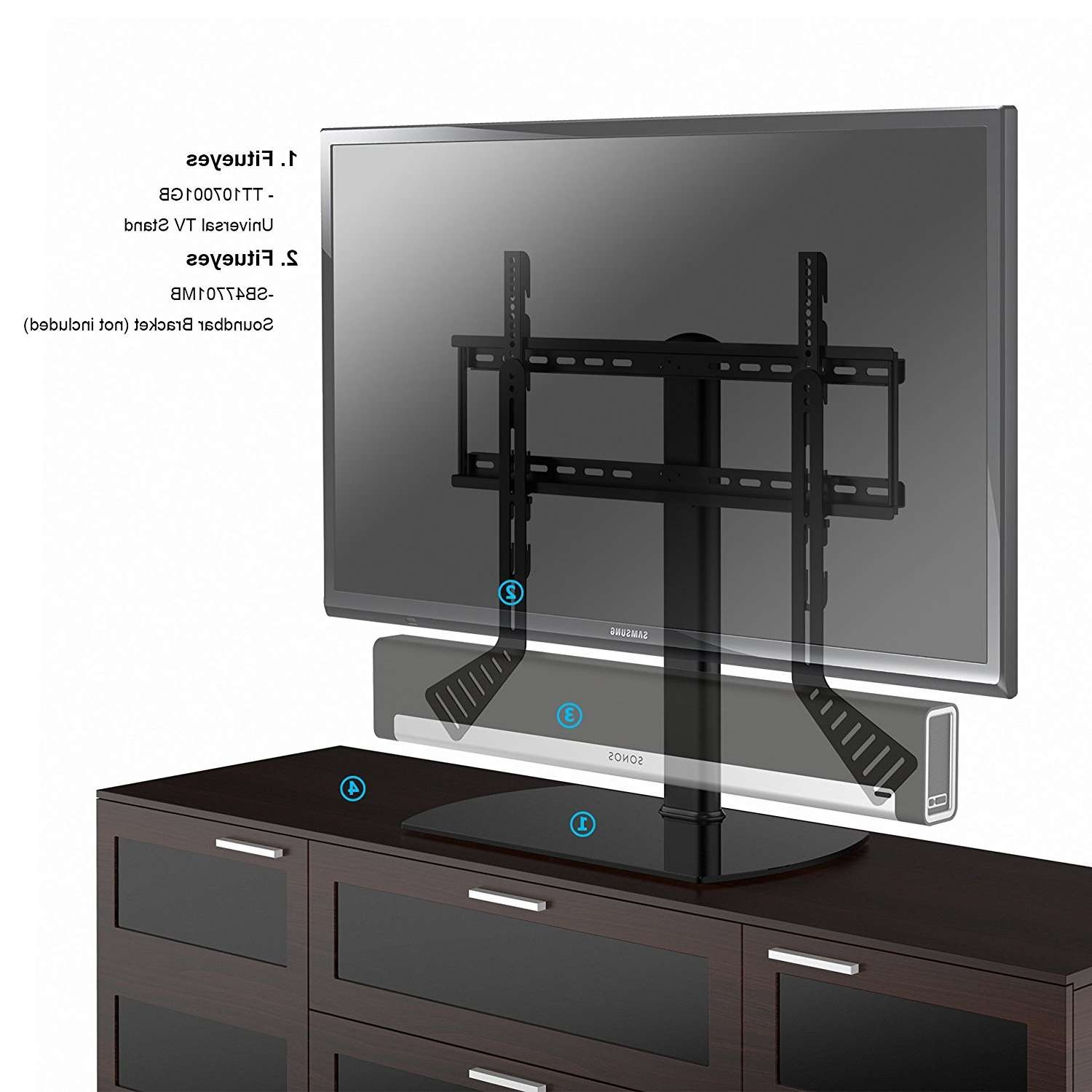 Fitueyes Universal Tabletop Tv Stand With Mount For 27 32 42 45 50 Pertaining To Sonos Tv Stands (View 13 of 15)