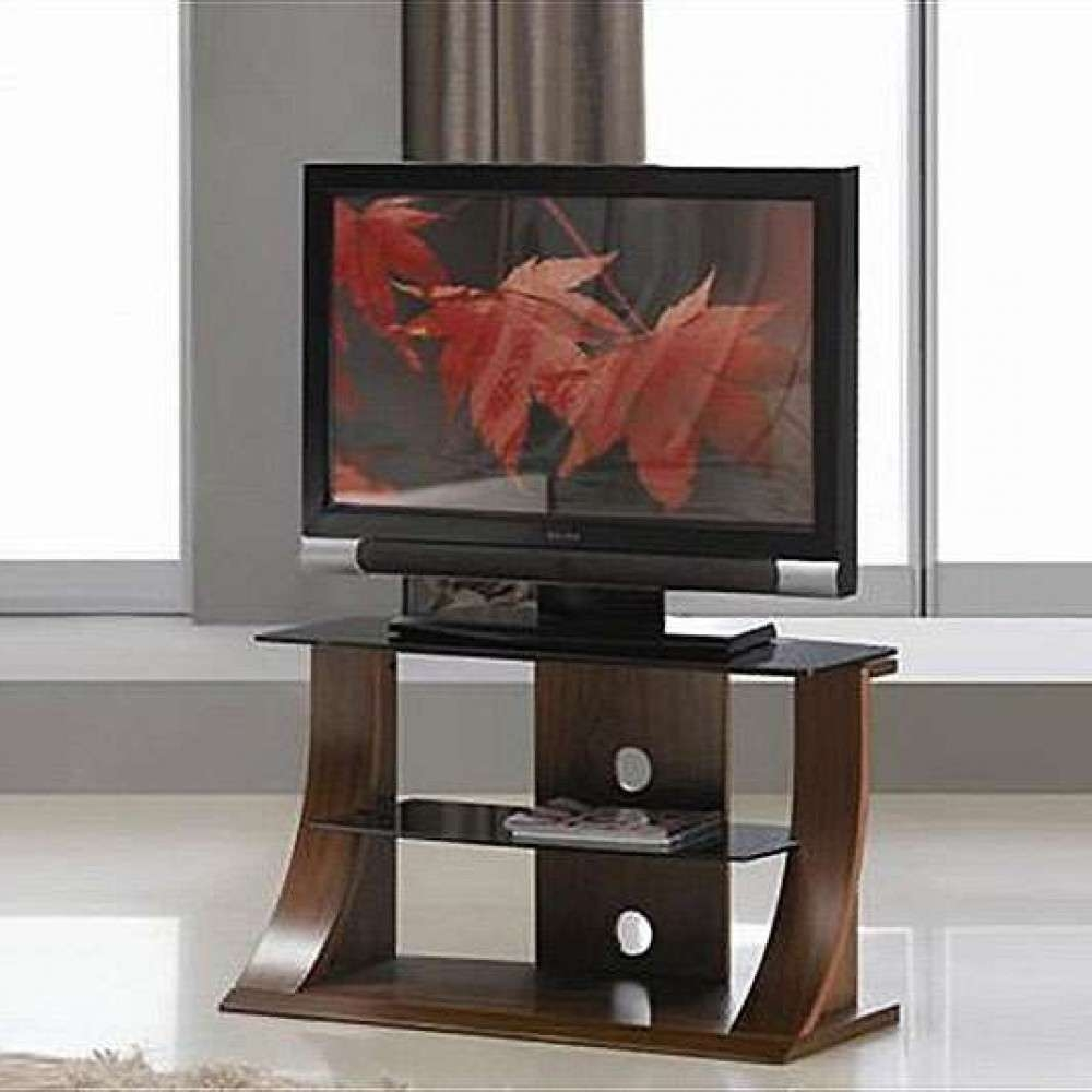 Flat Panel Plasma Tv Stands Dark Walnut Black Glass Throughout Curve Tv Stands (View 4 of 15)