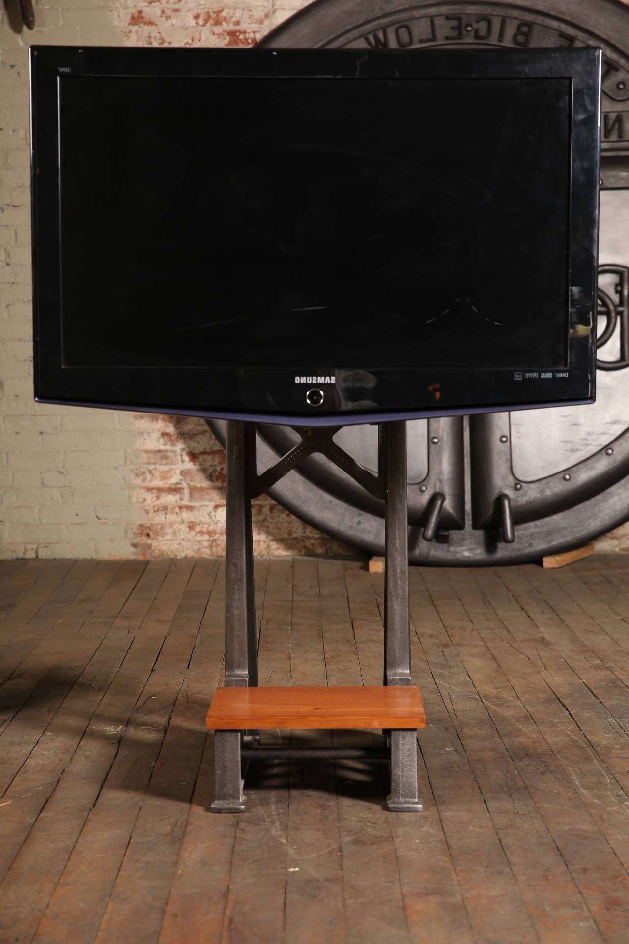 Flat Screen Tv Stand Vintage Industrial Cast Iron Media Screen Throughout Cast Iron Tv Stands (View 6 of 15)