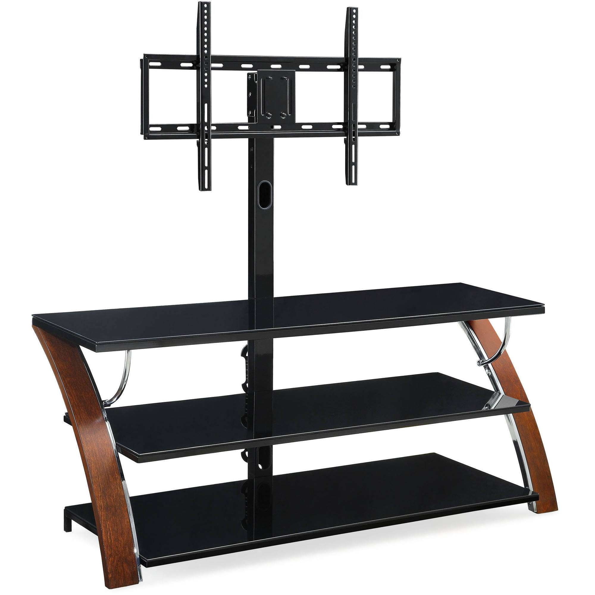 Flat Screen Tv Stands With Mount Furnitures Whalen Brown Cherry In For Tv Stands Swivel Mount (View 5 of 15)