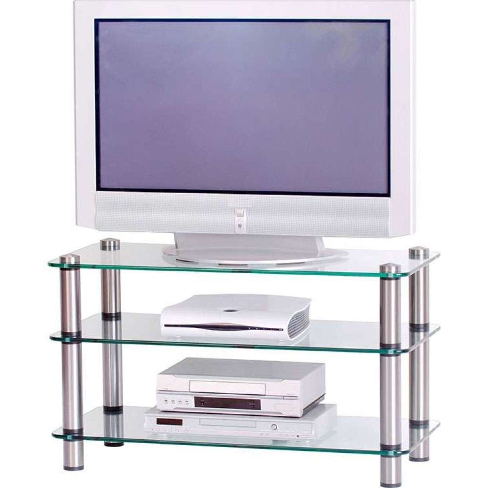 Flatscreen Platform Tv Stand Glass Shelves Storage Unit In Smoked Glass Tv Stands (View 9 of 15)