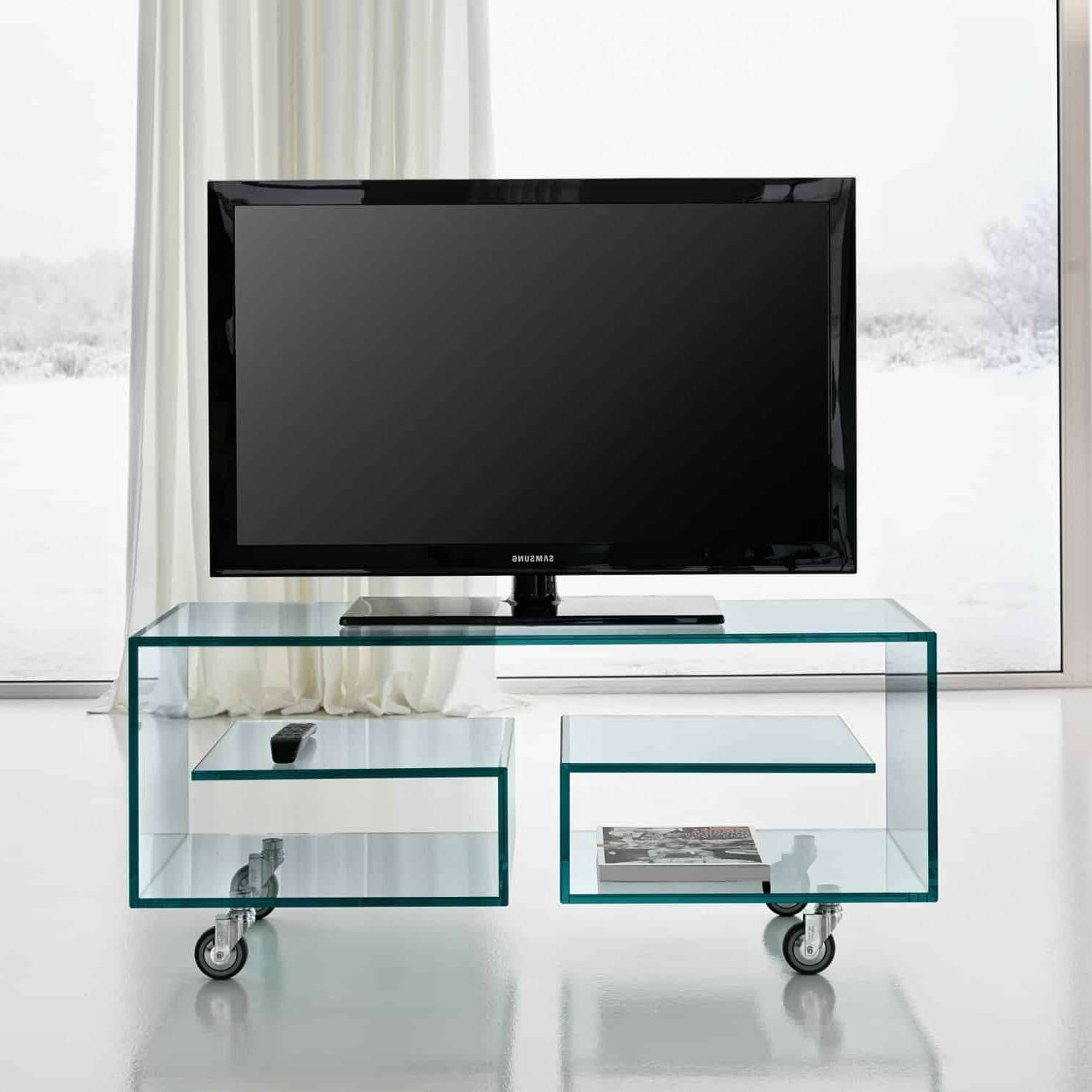 Flo Glass Tv Standtonelli – Klarity – Glass Furniture For Glass Tv Cabinets (View 7 of 20)