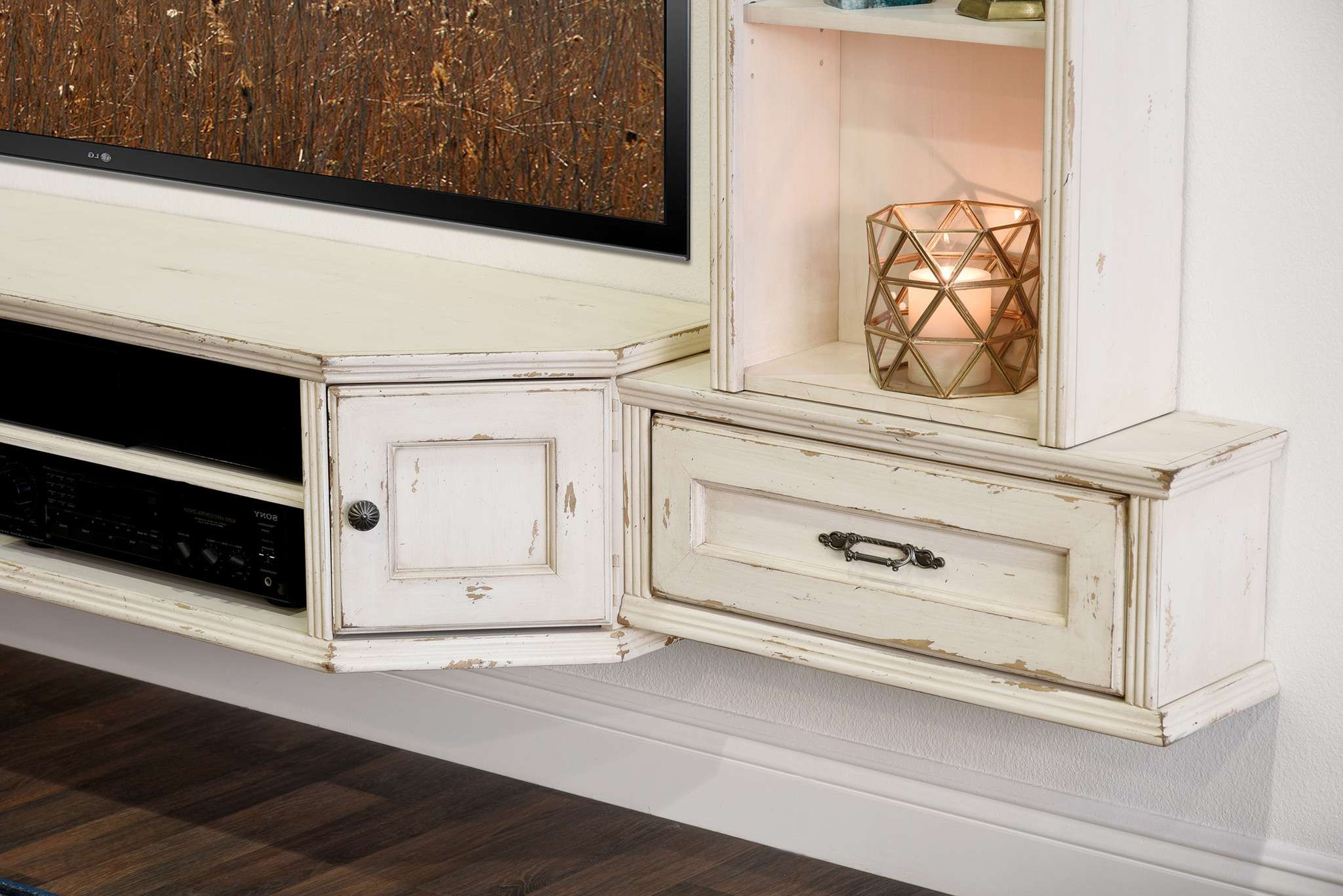 Floating Tv Stand For 70 Inch In Calm Home Furniture Ideas Throughout Rustic White Tv Stands (View 9 of 15)