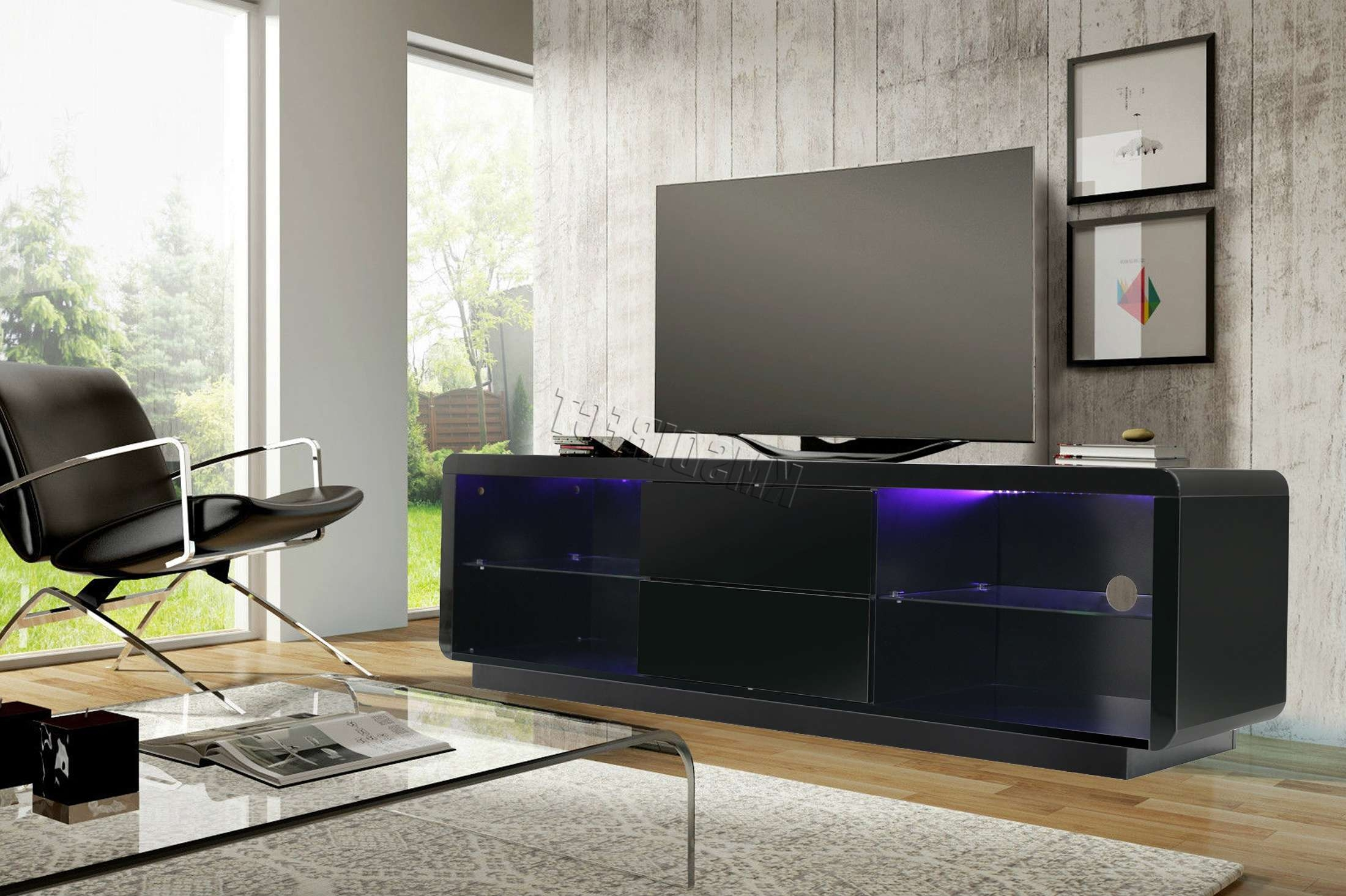Foxhunter Modern High Gloss Matt Tv Cabinet Unit Stand Home Rgb Regarding Tv Stands With Led Lights (View 2 of 15)