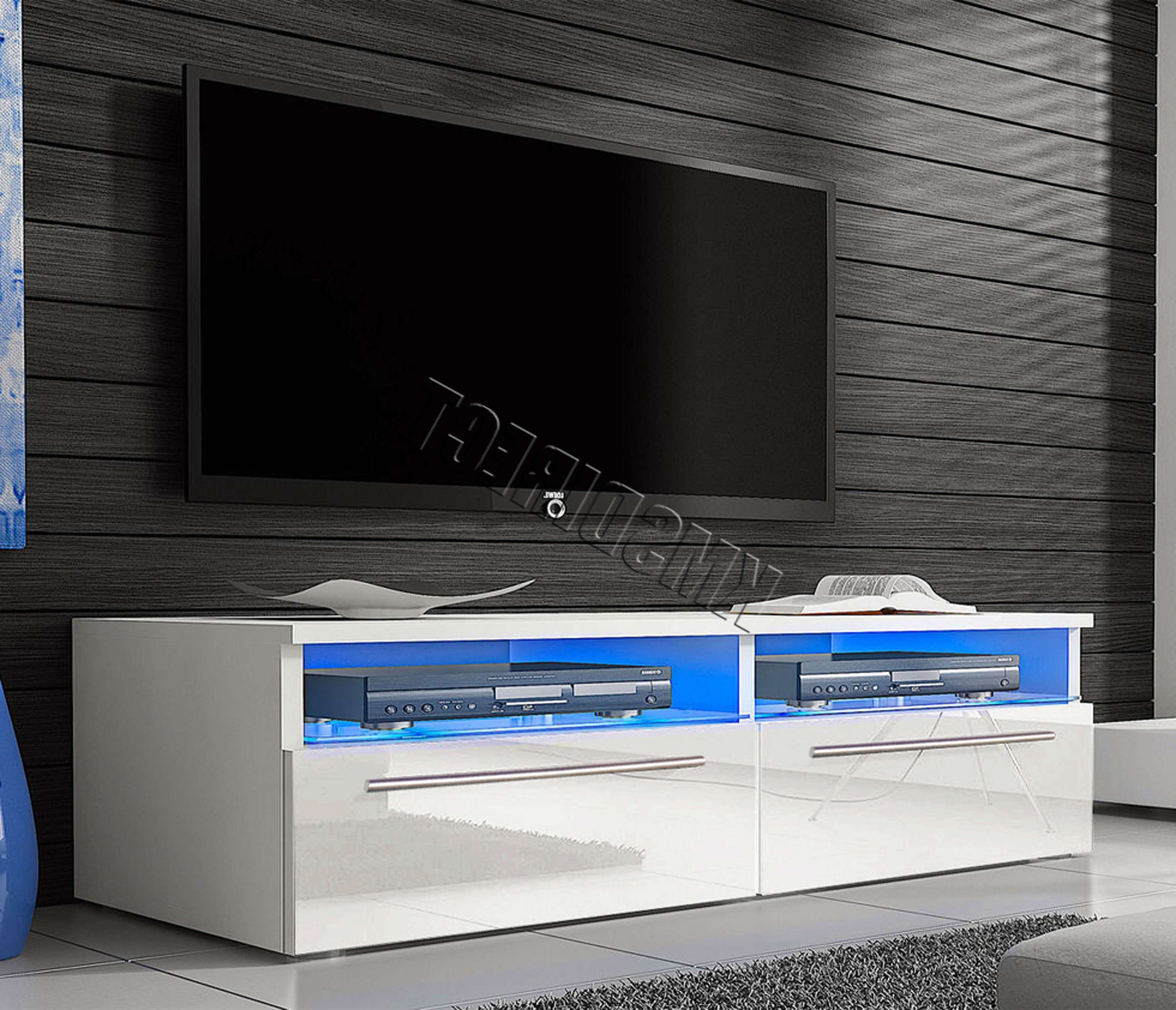 Foxhunter Modern High Gloss Matt Tv Cabinet Unit Stand Led Light Pertaining To High Gloss White Tv Stands (View 13 of 15)