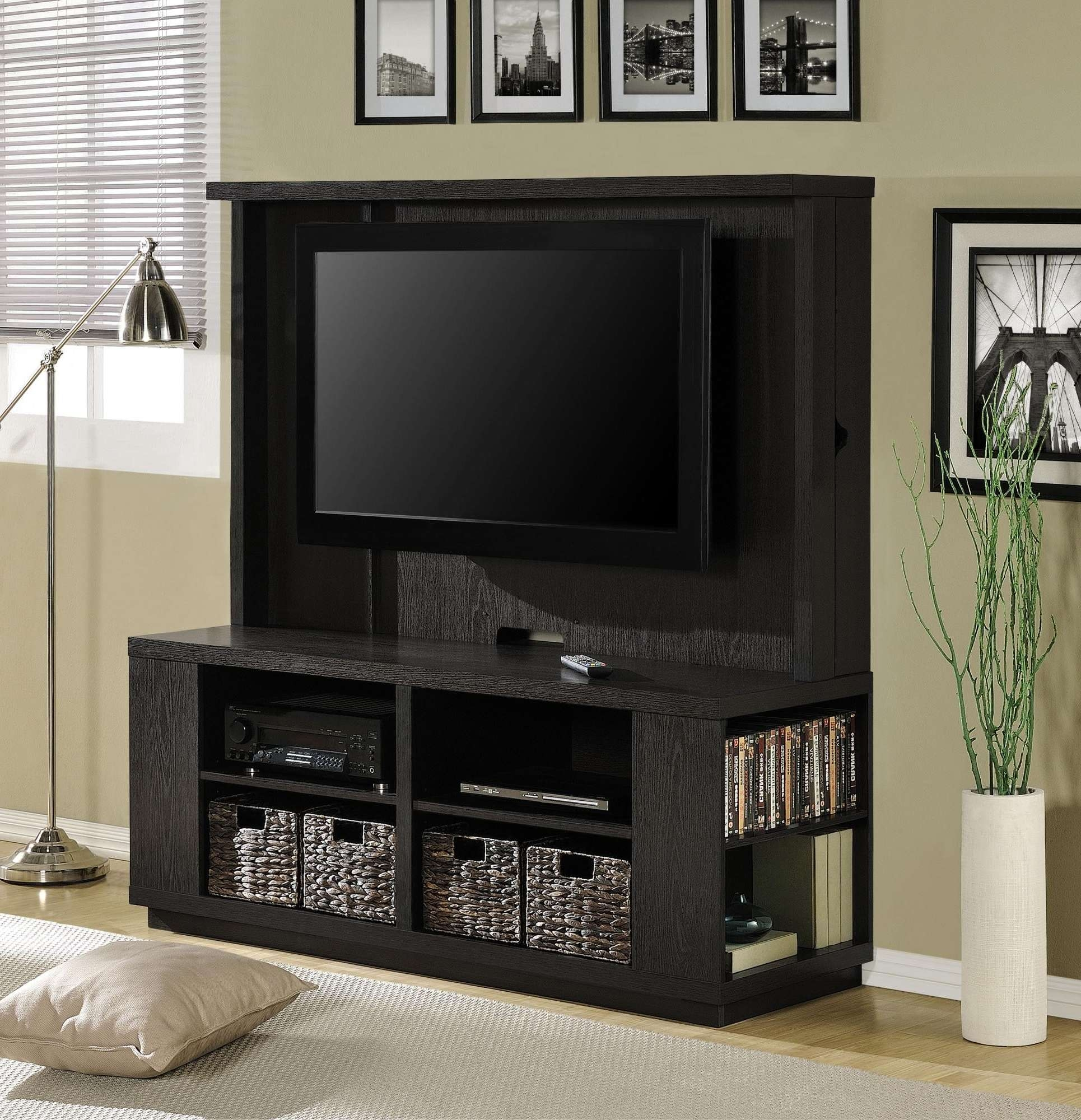 "Free Ship Furnishings | 60"" Flat Panel Tv Stand Dylan Hec With In Tv Stands With Baskets (View 5 of 15)"