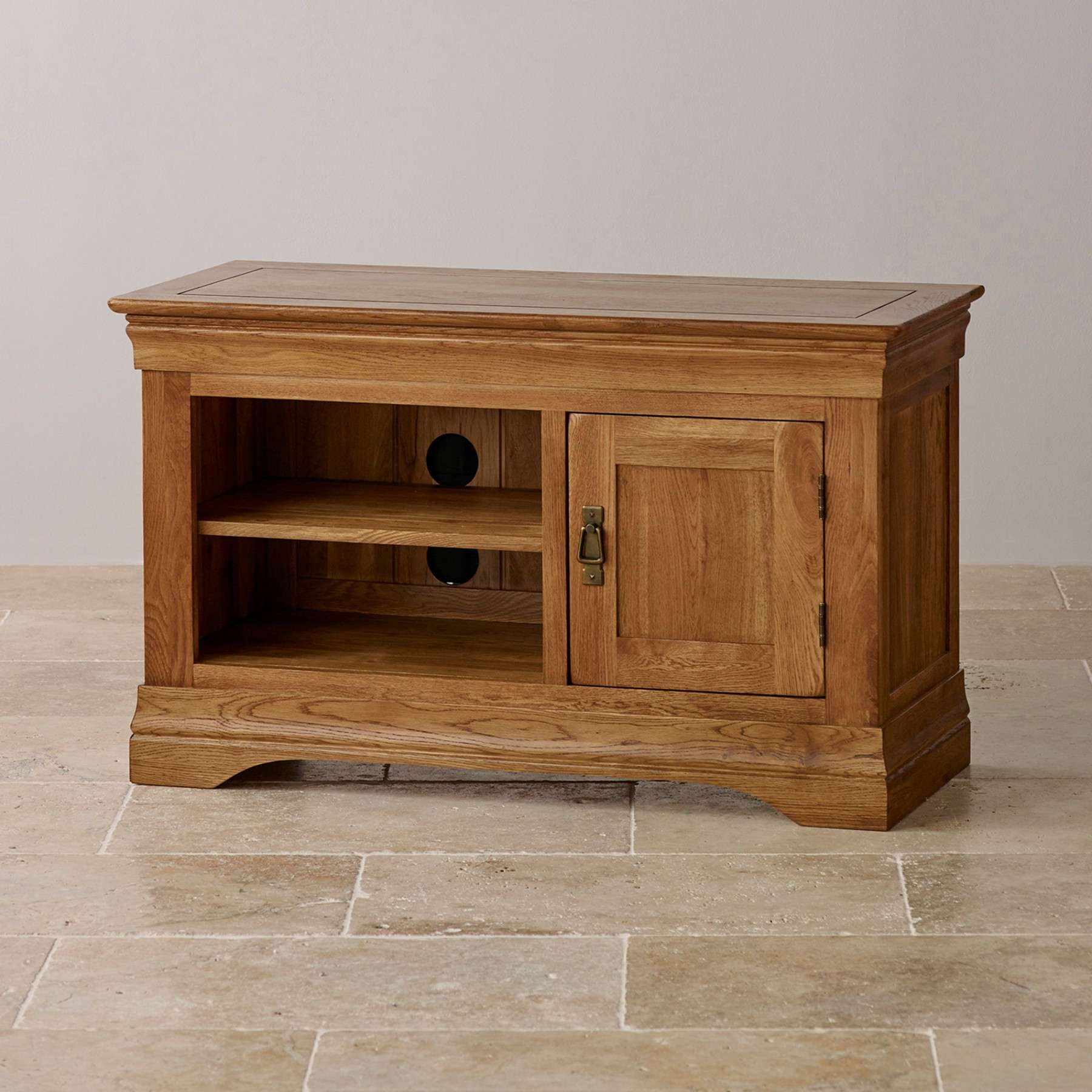 French Farmhouse Rustic Solid Oak Small Tv Stand Oak Furniture Land With Rustic Oak Tv Stands (View 4 of 15)