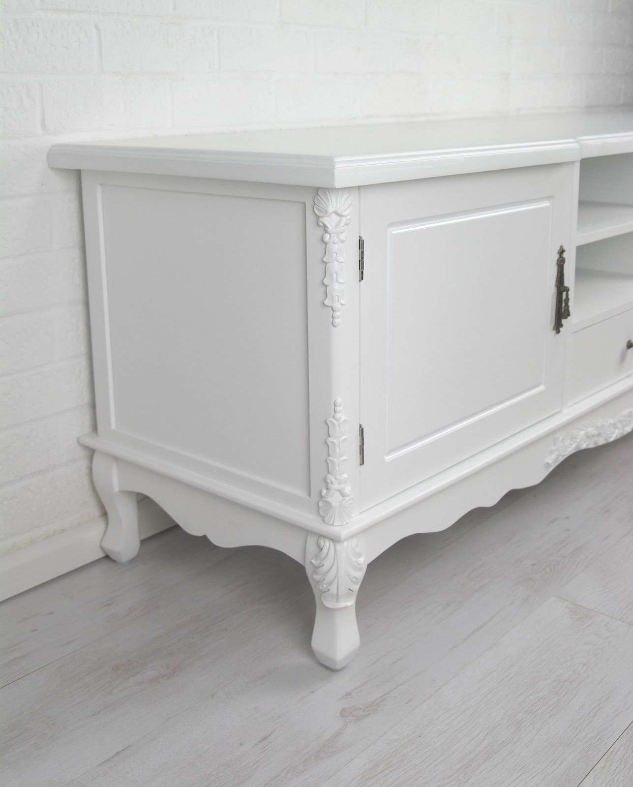 French Style White Large Cabinet Tv Unit Furniture – La Maison For French Tv Cabinets (View 20 of 20)
