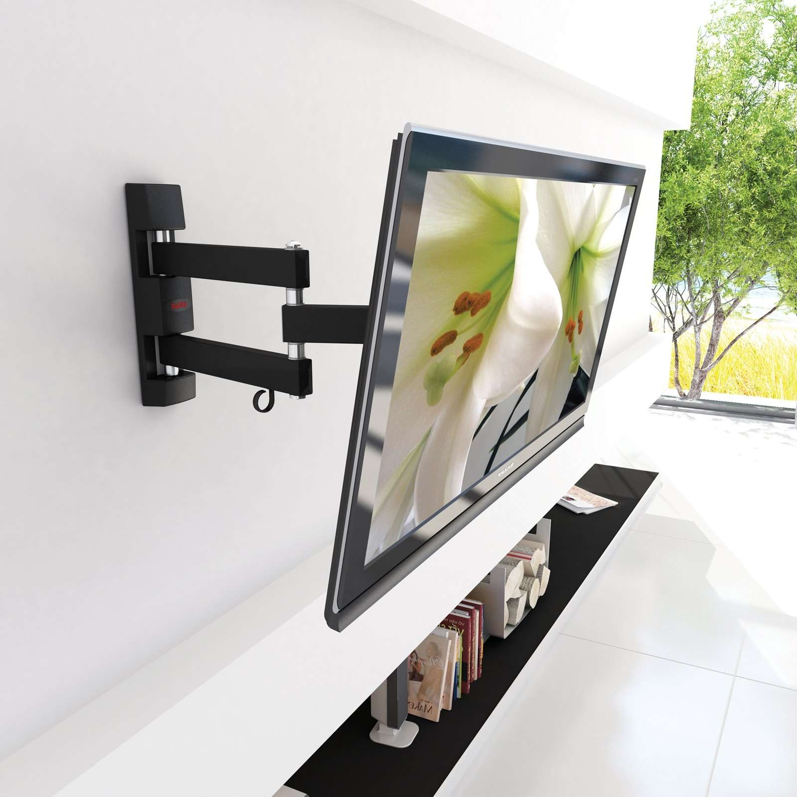 Furinno Modern Tv Stand With Wall Mount Bracket | Hayneedle With Regard To Wall Mount Adjustable Tv Stands (View 4 of 20)