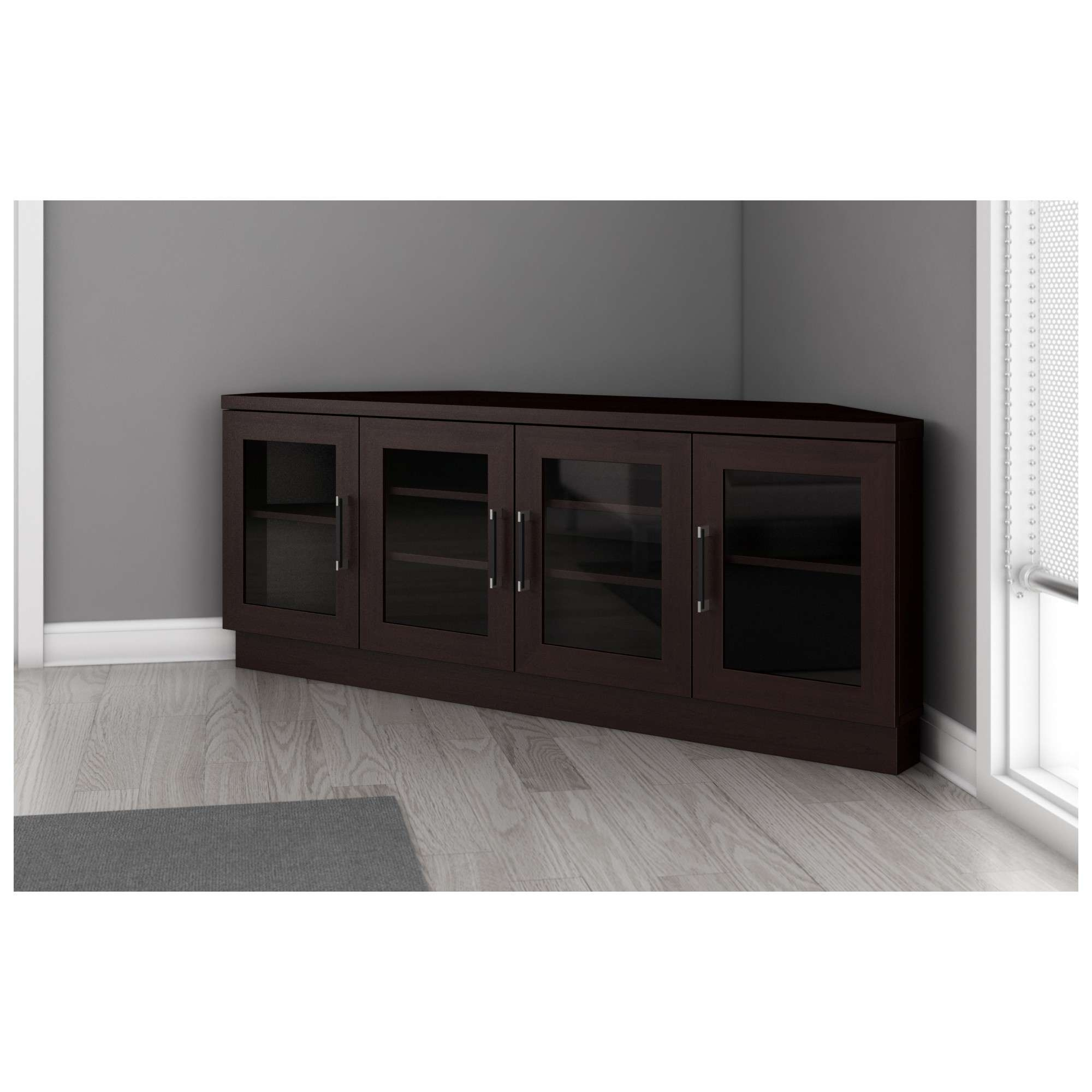 "Furnitech Ft60Cccw 60"" Tv Stand Contemporary Corner Media Cabinet For Modern Corner Tv Stands (View 8 of 20)"