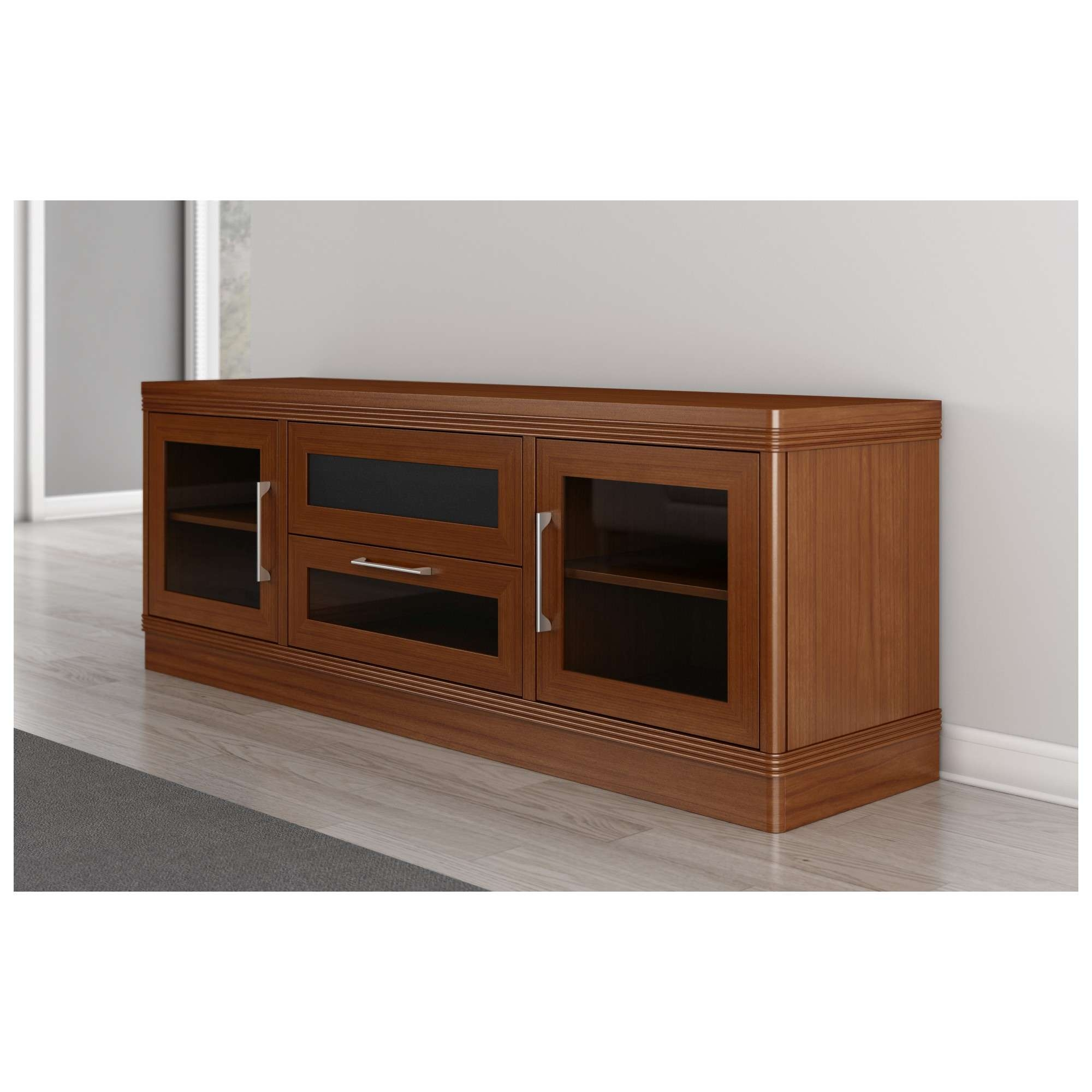 "Furnitech Ft72trlc 70"" Tv Stand Traditional Media Cabinet W Throughout Light Cherry Tv Stands (View 8 of 15)"