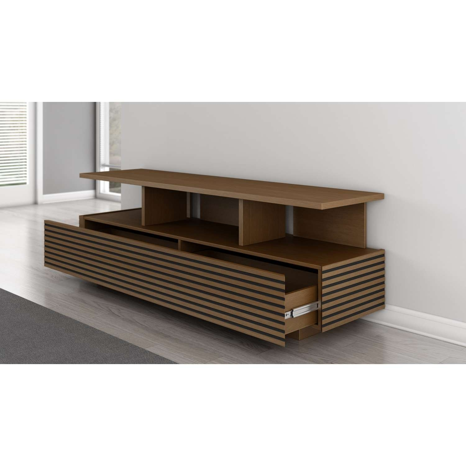 Furnitech Samba 70 Inch Sleek Contemporary Console : Autumn Cherry Intended For Sleek Tv Stands (View 14 of 15)