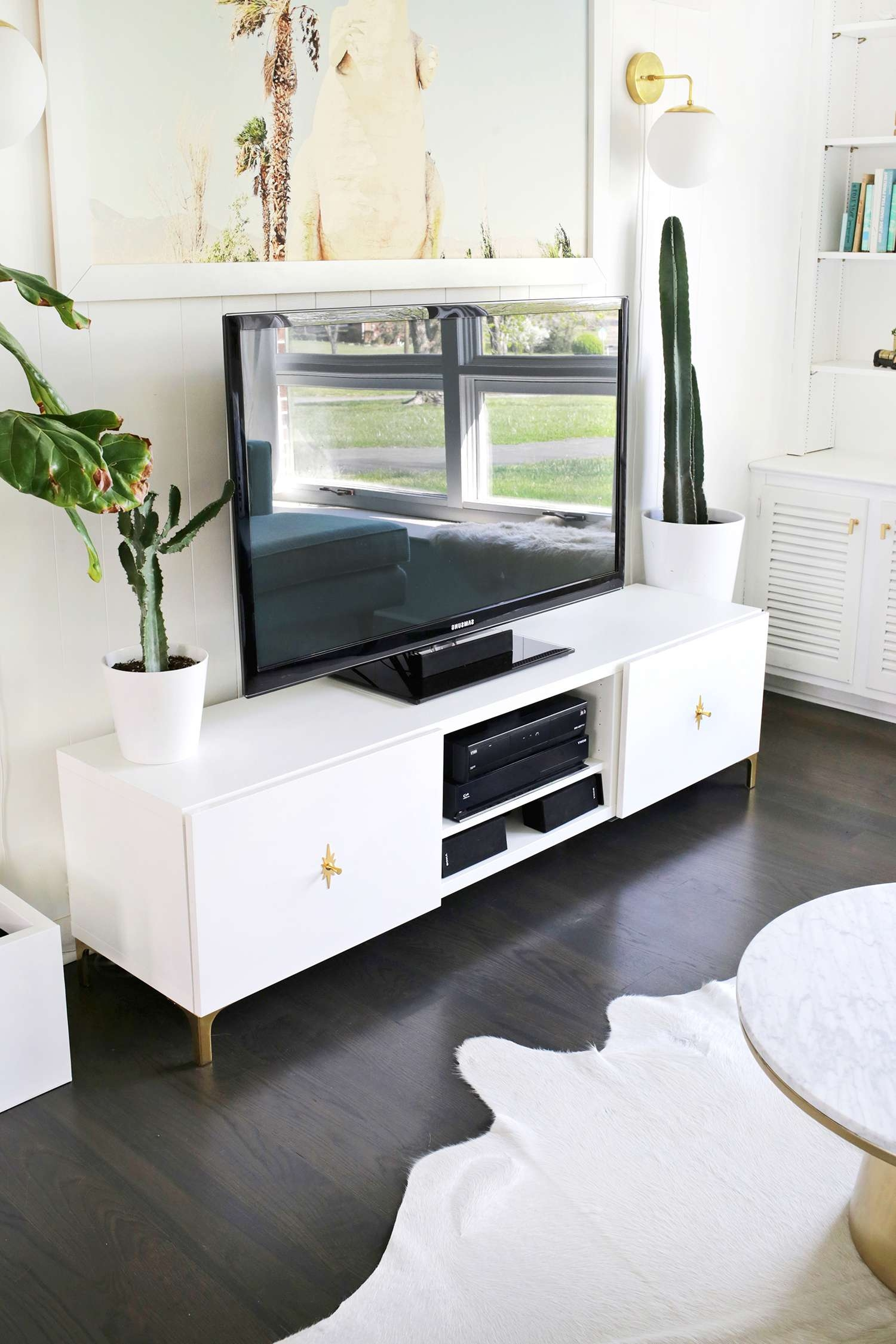 Furniture Accessories : Diy Ikea Tv Stand Ideas Long White Wooden Throughout Long White Tv Stands (View 6 of 15)
