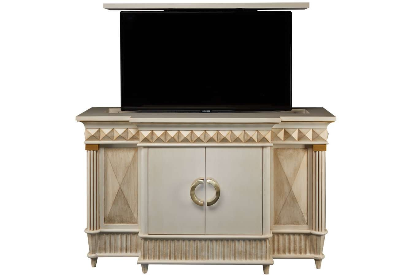 Furniture: Antique Flat Screen Tv Cabinet With Gold Curving Accent Within Gold Tv Stands (View 8 of 20)