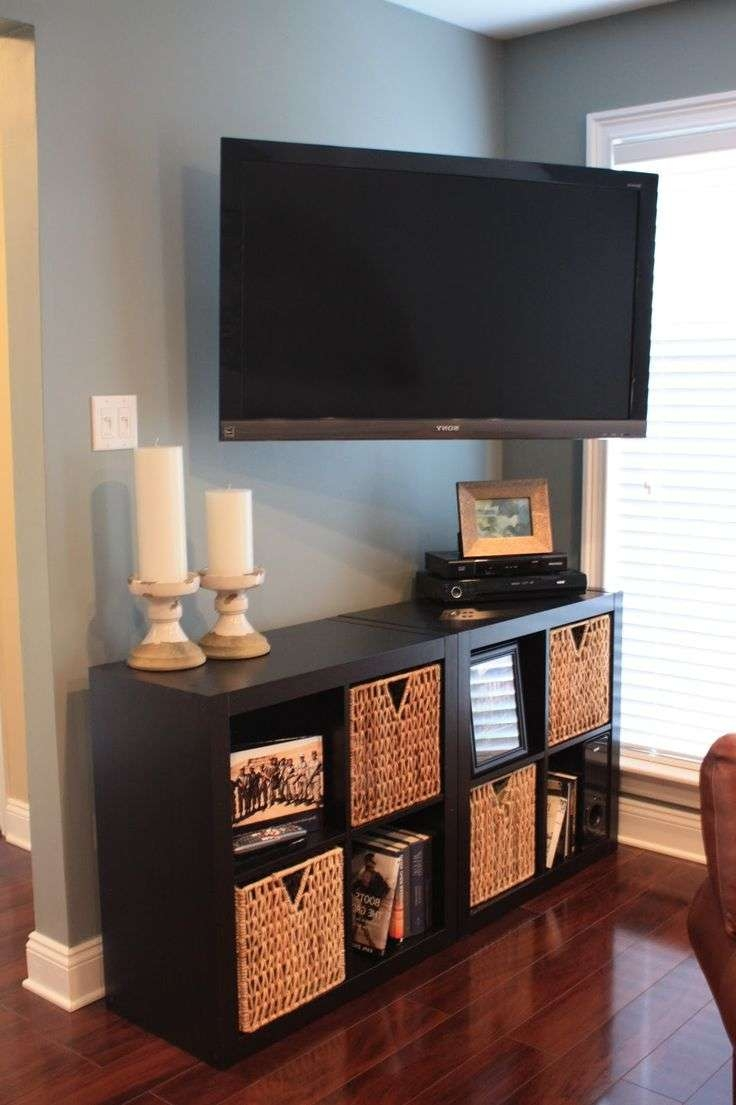 Furniture: Candle Stick Holders And Corner Tv Stand Ikea With With Regard To Tv Stands With Storage Baskets (View 4 of 15)