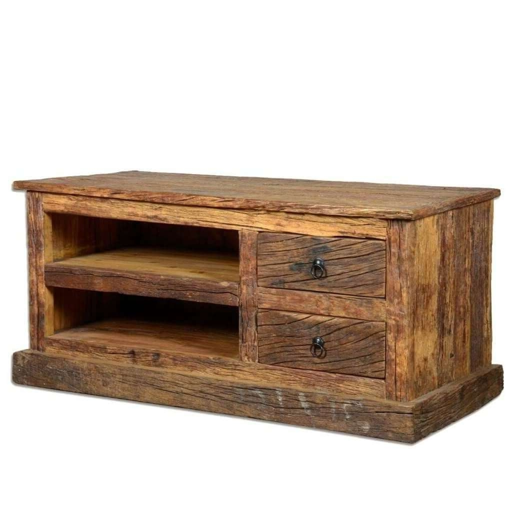 Furniture: Chunky Cheap Rustic Wooden Tv Stand Featuring 2 Graded Regarding Cheap Rustic Tv Stands (View 6 of 15)