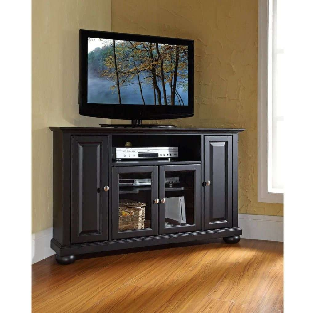 Furniture: Classic Dark Brown Corner Tv Stand With 2 Side Cabinets Regarding Dark Brown Corner Tv Stands (View 17 of 20)
