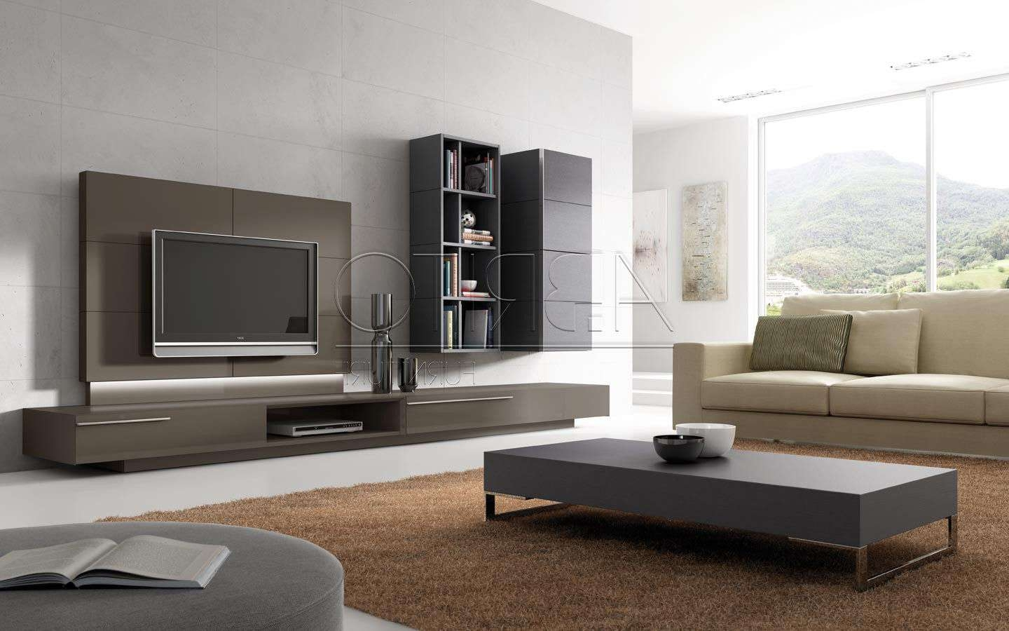 Furniture: Coffee Table And Aera Rug With Ottoman Also Modern Tv With Regard To Modern Tv Cabinets (View 13 of 20)