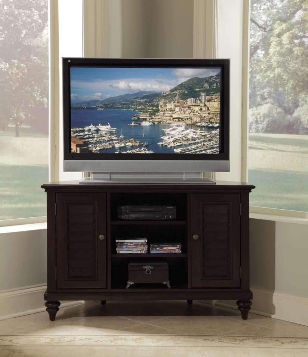 Furniture: Dark Brown Corner Tv Stand With Double Shutter Door Inside Dark Brown Corner Tv Stands (View 7 of 20)
