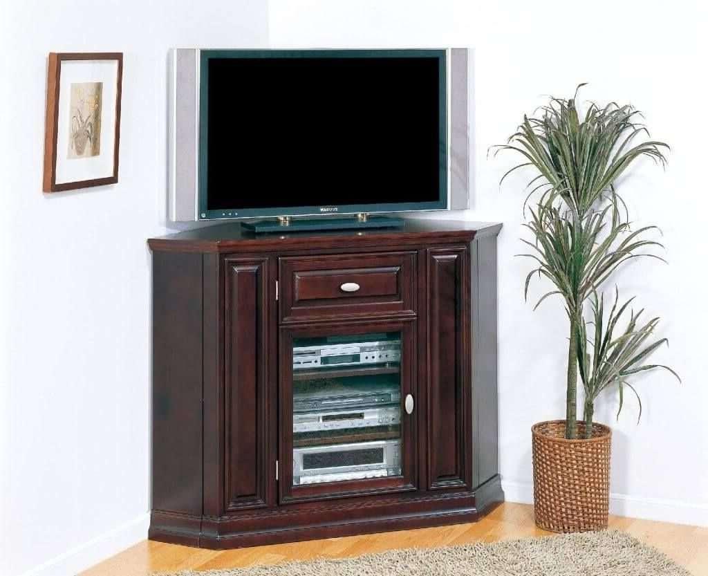 Furniture: Dark Brown Wooden Dark Brown Tall Corner Tv Stand With In Dark Brown Corner Tv Stands (View 13 of 20)