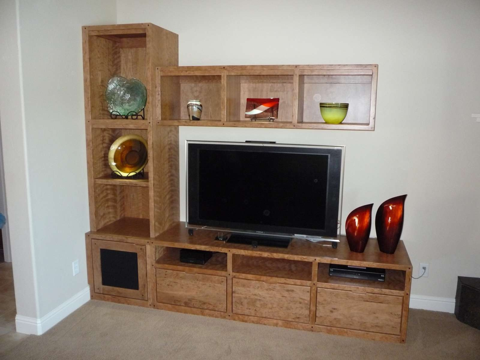 Furniture: Enchanting Brown Solid Veneer Wooden Custom Floating With Regard To Tv Stands For Small Rooms (View 9 of 15)