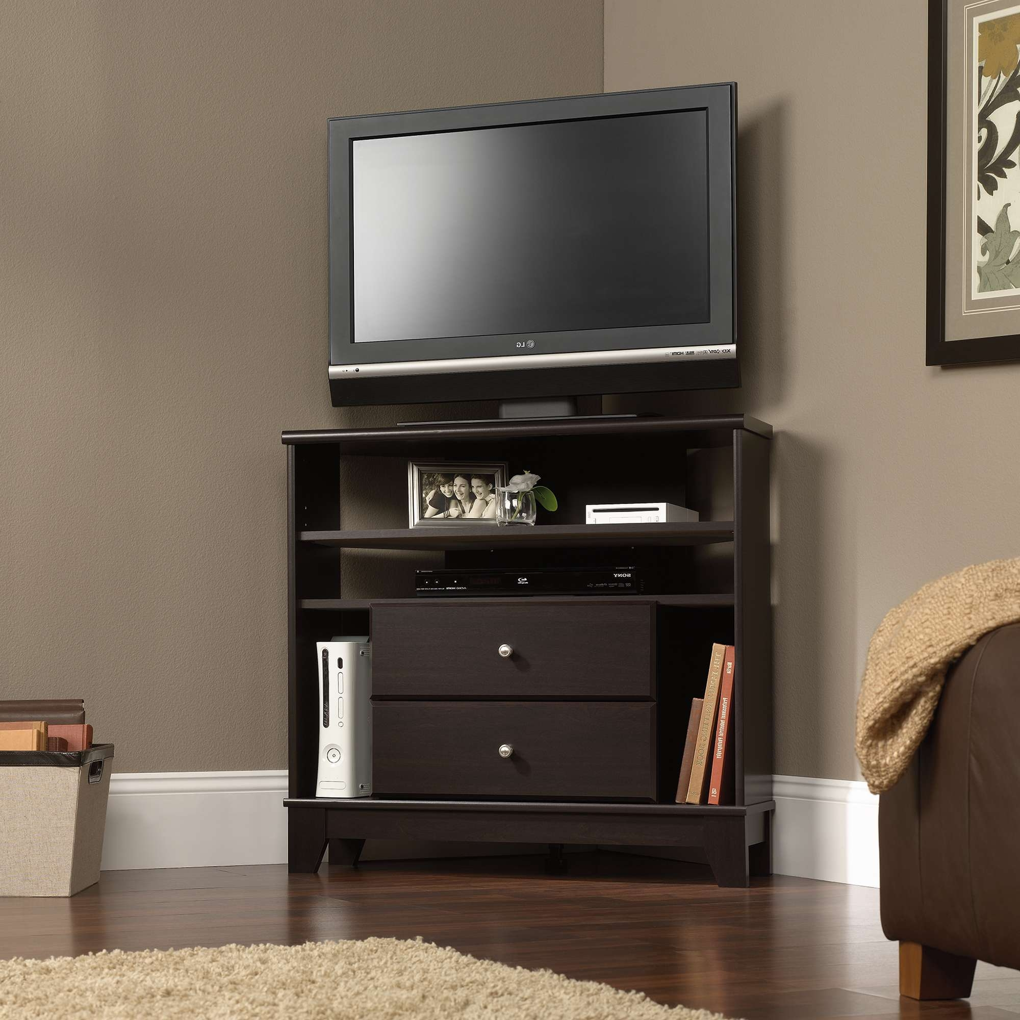 Furniture Glossy Wood Sauder Tv Stand Design With White Windows Throughout White Small Corner Tv Stands (View 5 of 15)