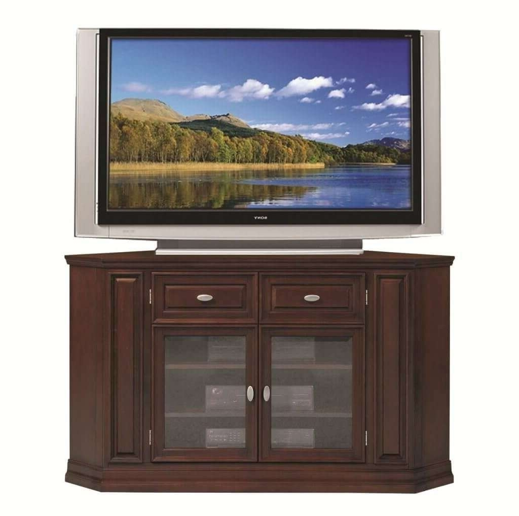 Furniture: Half Hexagon Shaped Wooden Tall Corner Tv Stands With Regard To Double Tv Stands (View 7 of 15)