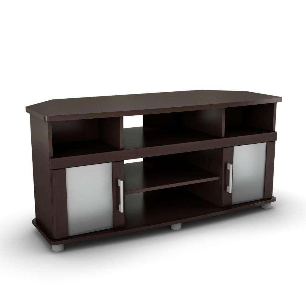 Furniture: Interesting Dark Brown Corner Tv Stand With Double In Dark Brown Corner Tv Stands (View 9 of 20)