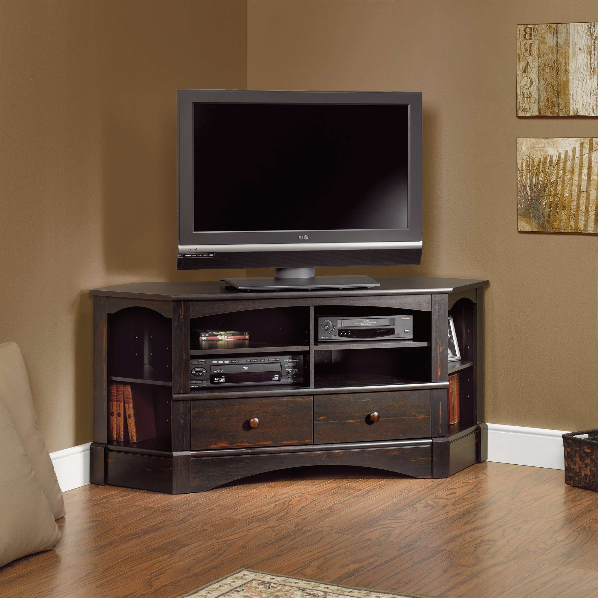 Furniture: Interesting Sauder Tv Stand For Home Furniture Ideas For Silver Corner Tv Stands (View 2 of 15)