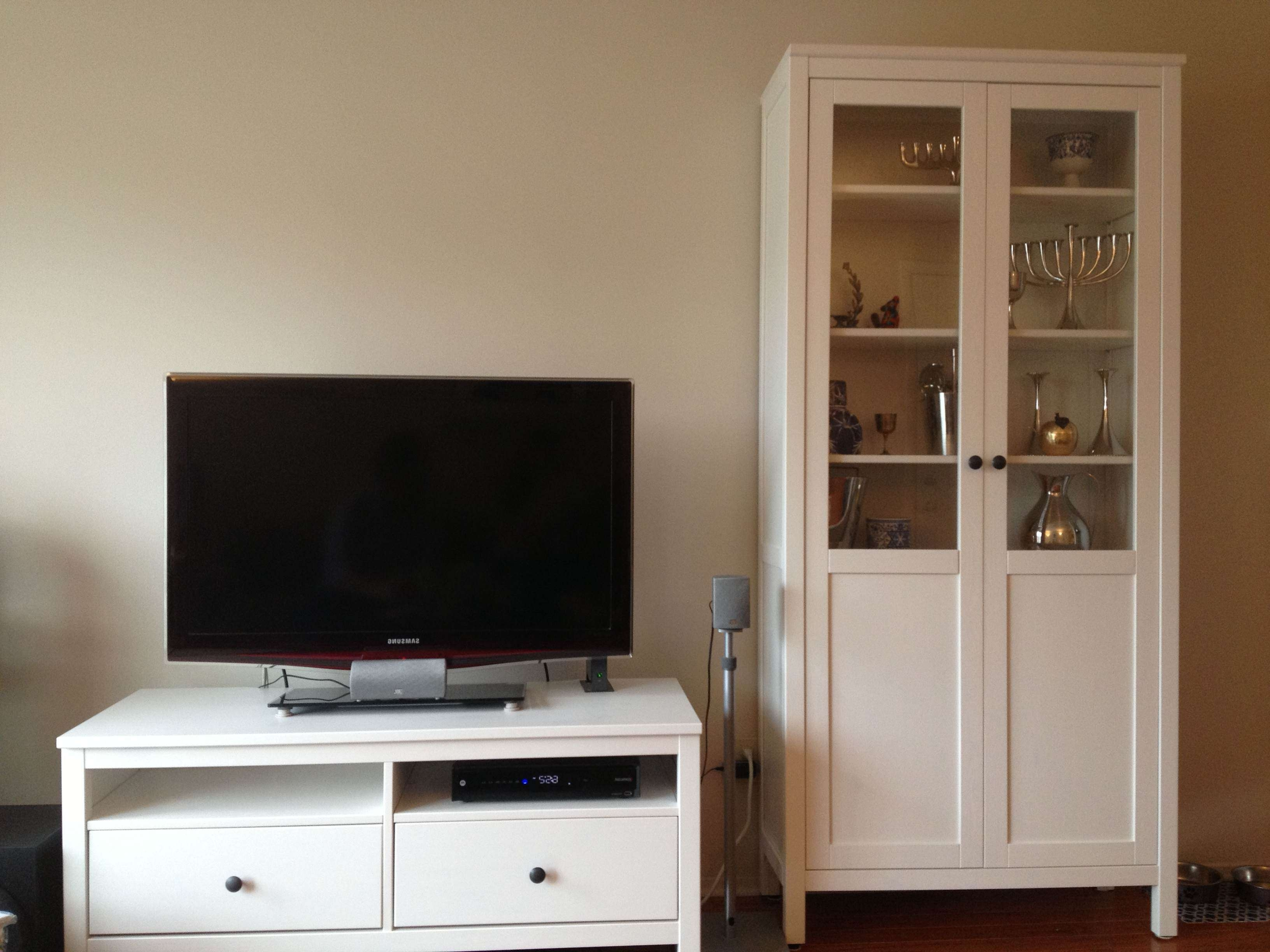 Furniture: Interesting White Ikea Hemnes Bookcase With White Two With Regard To Tv Stands With Matching Bookcases (View 3 of 15)