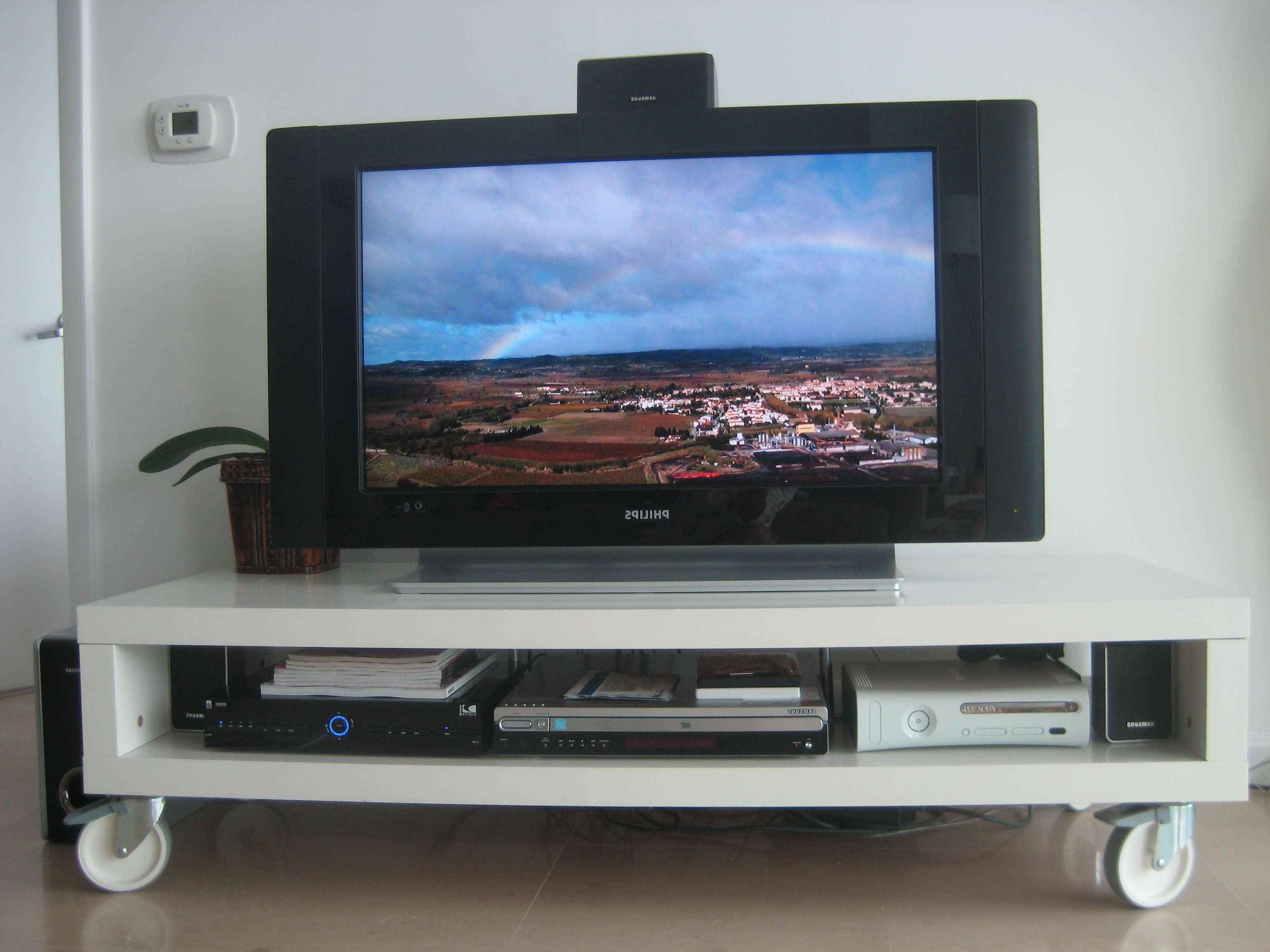Furniture Living Room Interior Minimalist White Tv Stand With Within Single Tv Stands (View 9 of 15)