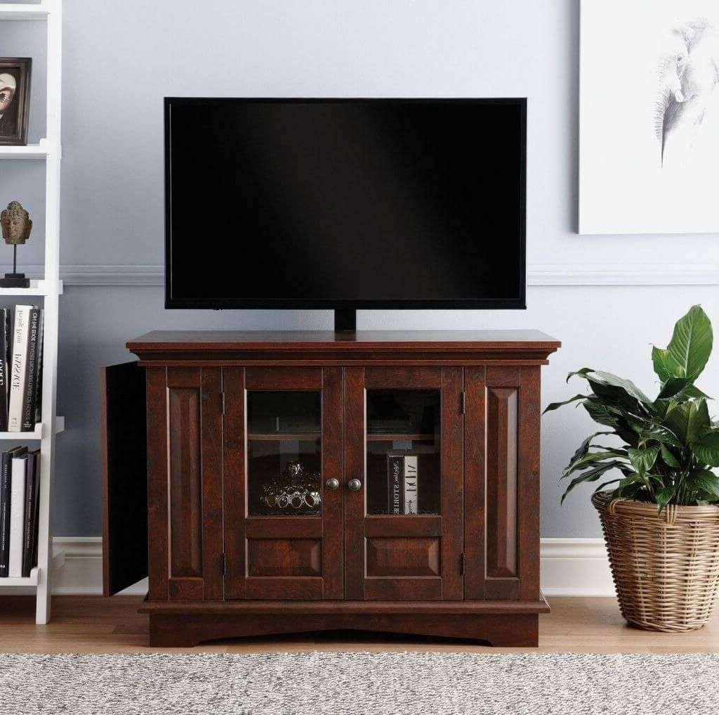 Furniture: Modern Dark Wooden Tall Tv Stands For Bedroom With 3 Throughout Very Tall Tv Stands (View 10 of 15)