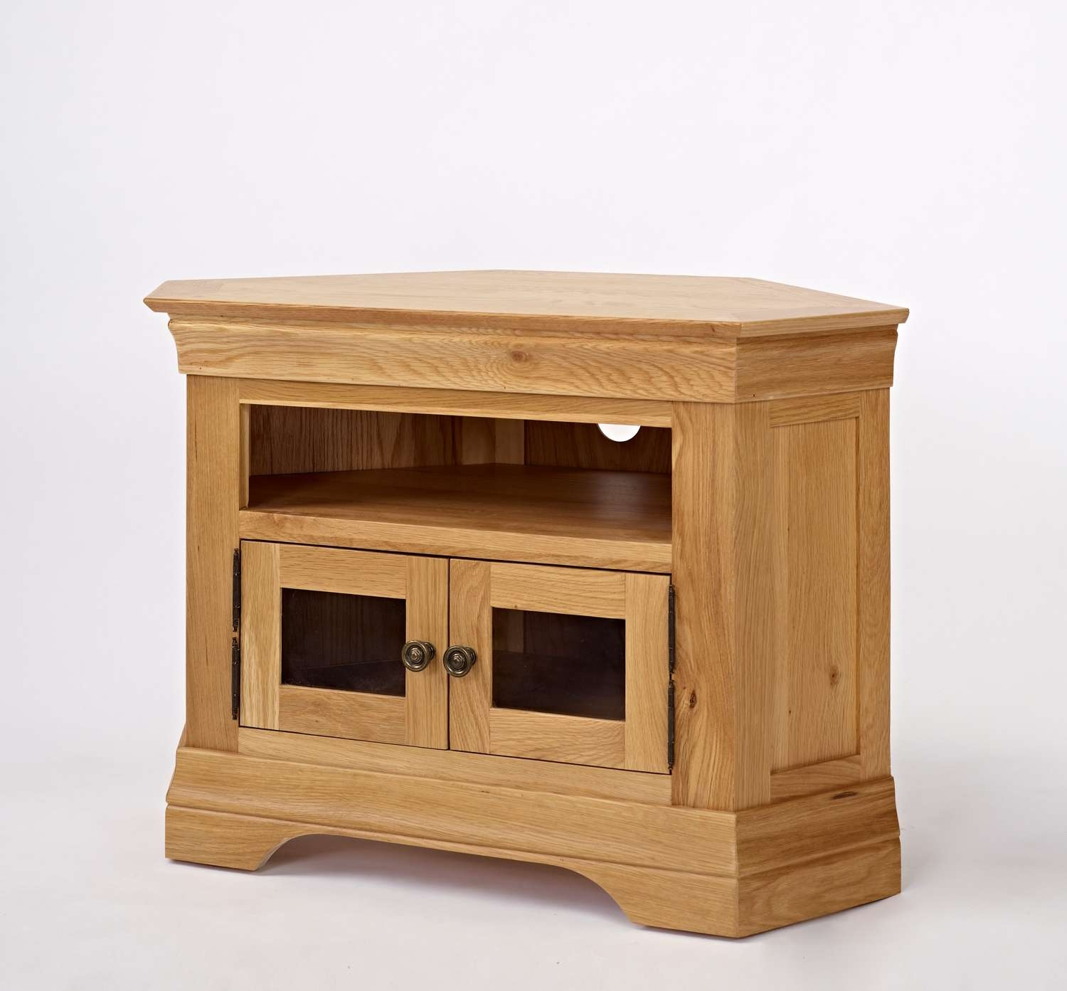 Furniture Oak Wood Media Cabinet With Open Shelf And Storage Solid Pertaining To Small Oak Corner Tv Stands (View 4 of 15)