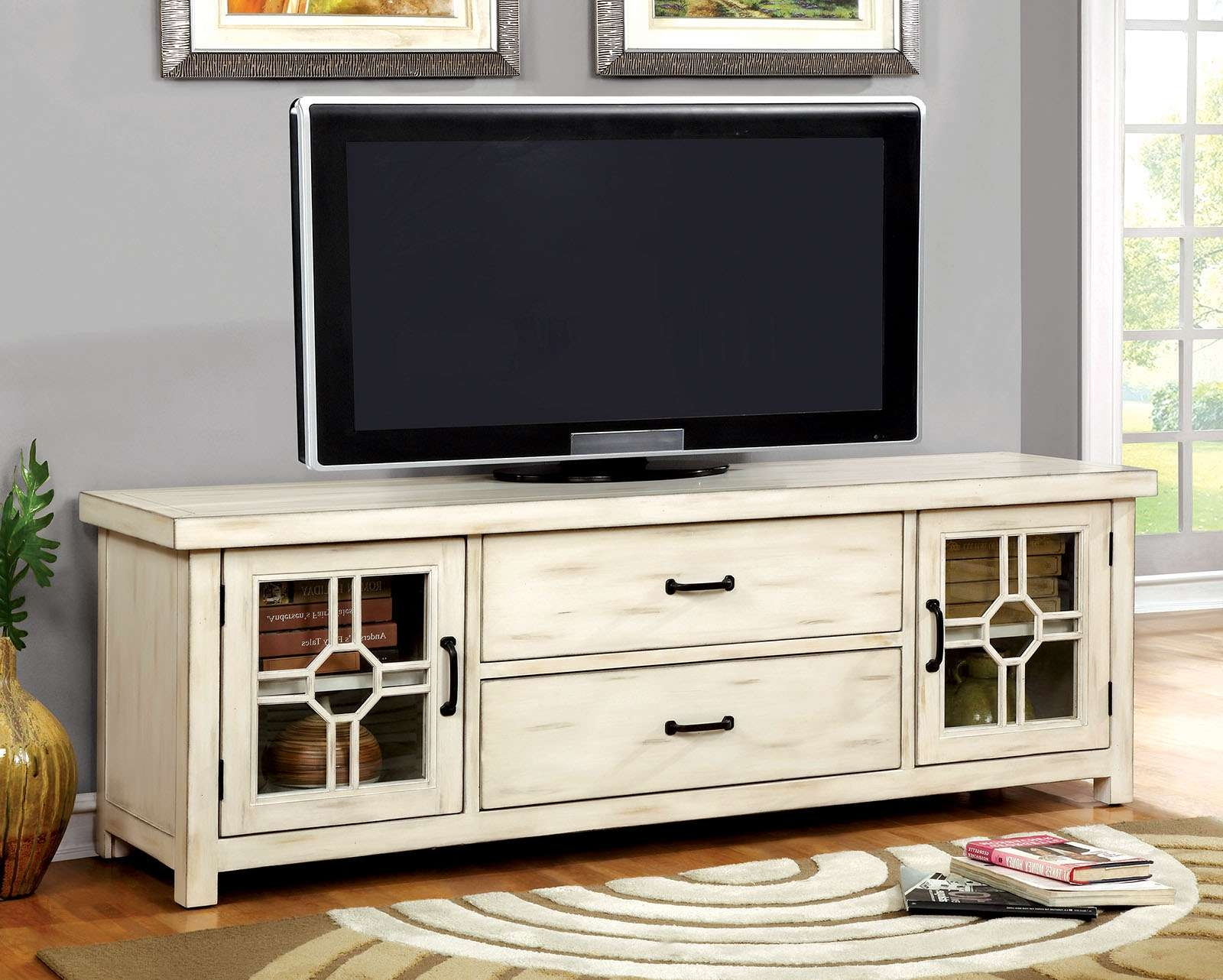 Furniture Of America Cm5230 Antique White Lift Top Finish Tv Stand Pertaining To Rustic White Tv Stands (View 4 of 15)