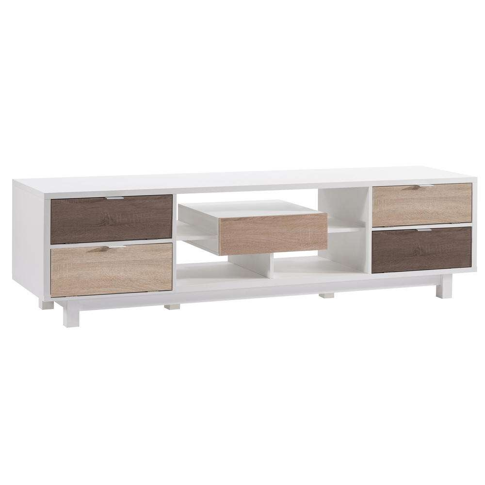 Furniture Of America Releine White Two Tone Tv Stand Hfw 1478C2 Regarding White And Wood Tv Stands (View 5 of 15)
