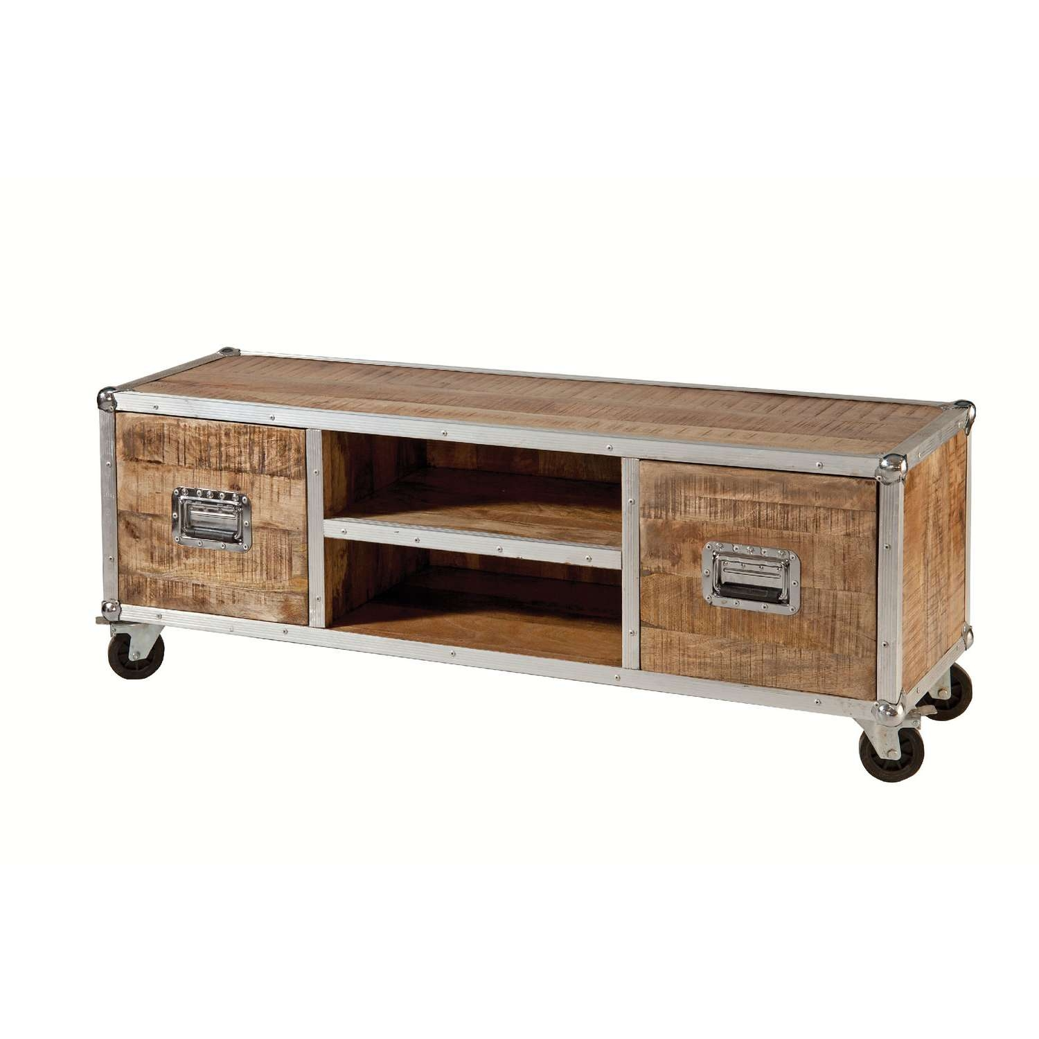 Furniture: Reclaimed Wood Tv Stand With Shelves And Drawers For With Regard To Wooden Tv Stands With Wheels (View 7 of 15)