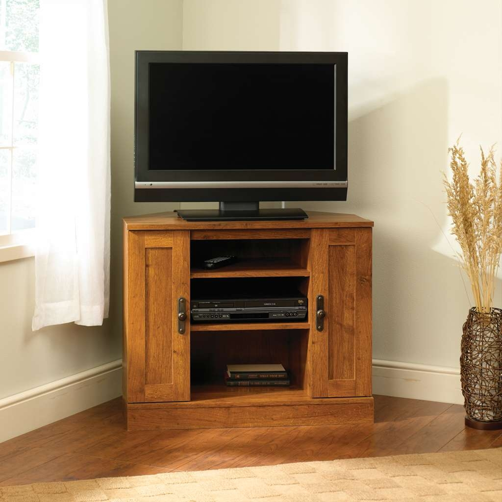 Furniture: Small Corner Sauder Tv Stand Made Of Wood With Double Regarding White Small Corner Tv Stands (View 7 of 15)