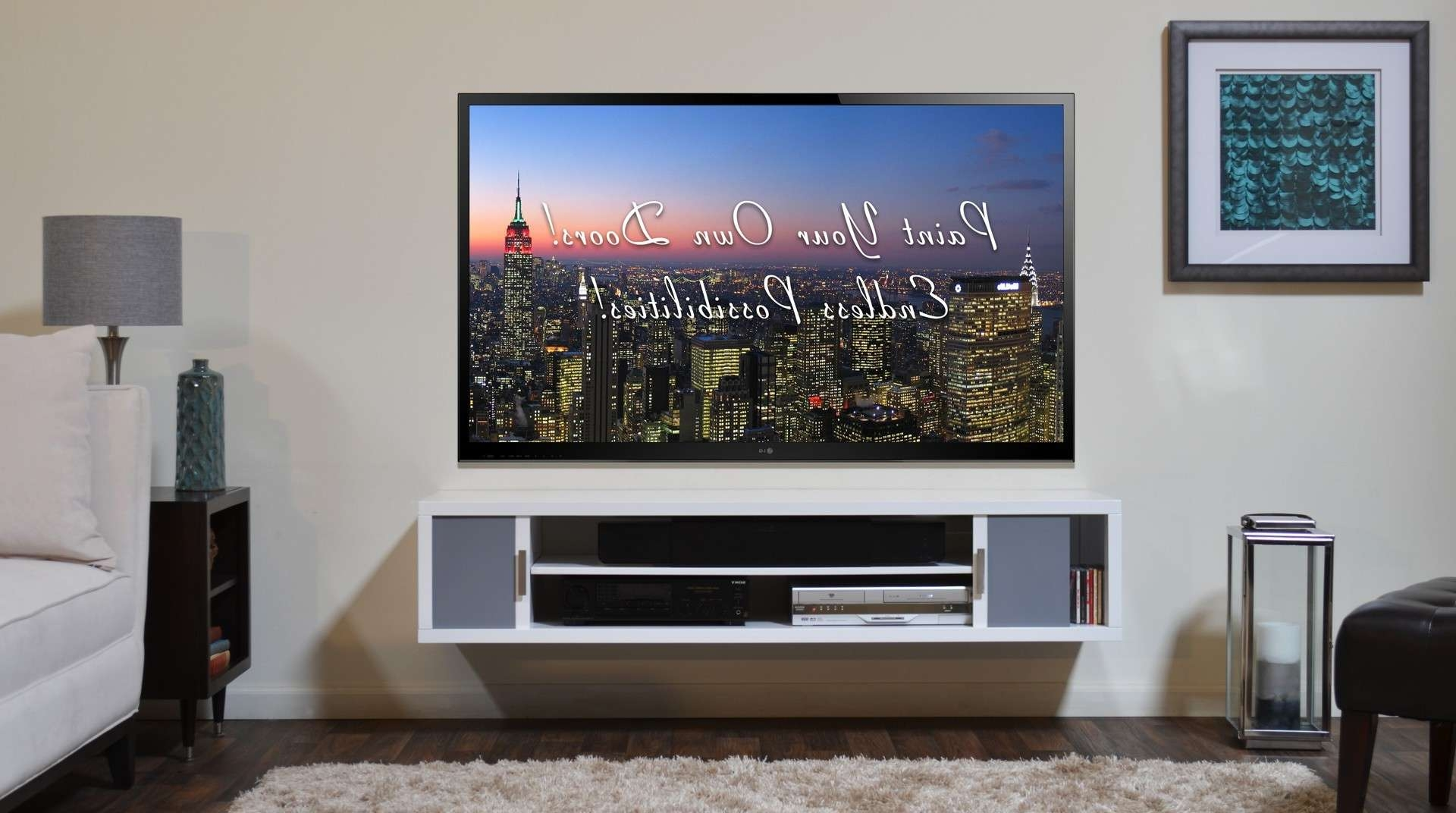 Furniture. Stylish Wall Mount Tv Stand With Shelf Designs (View 5 of 15)