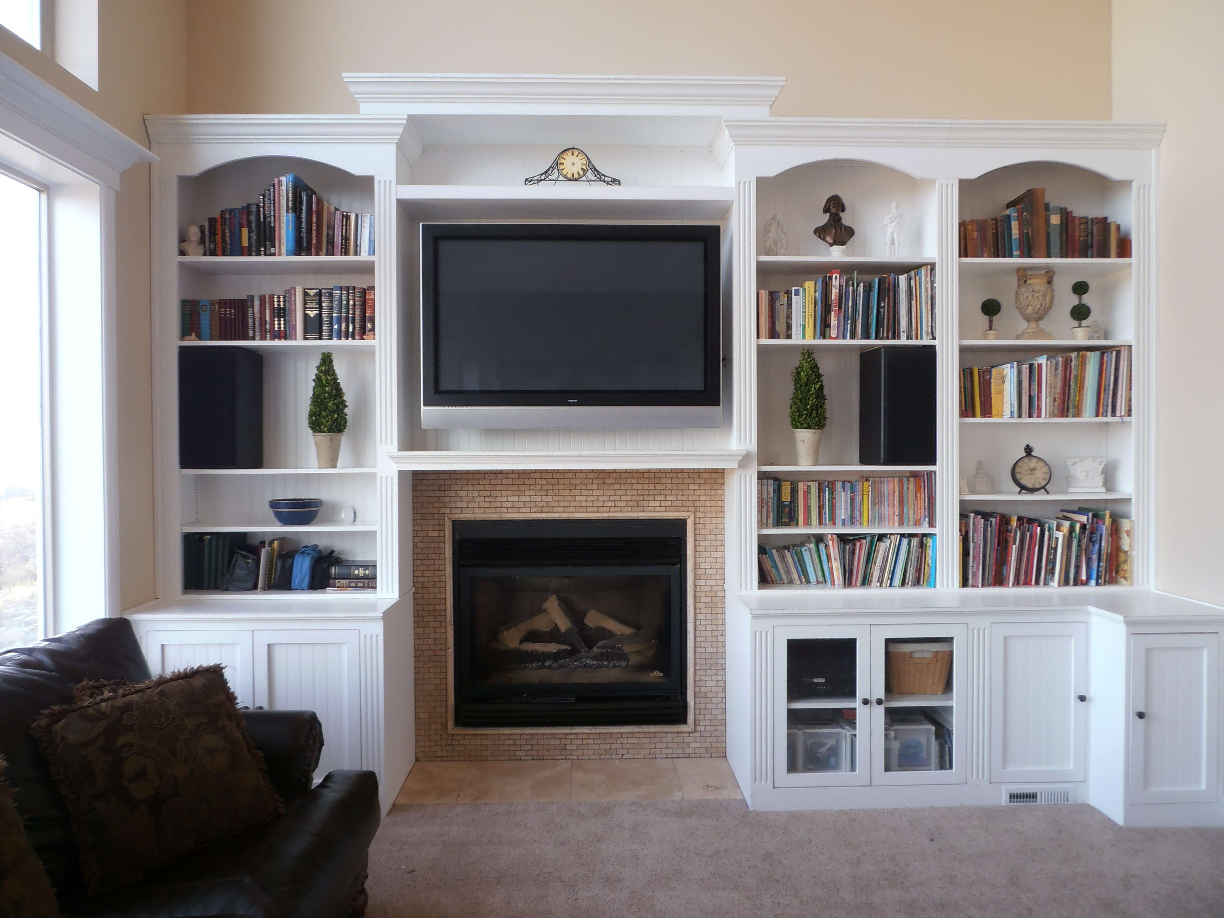 Furniture Terrific Wooden Painted White Tv Stand With Storage Inside Tv Stands With Bookcases (View 3 of 15)
