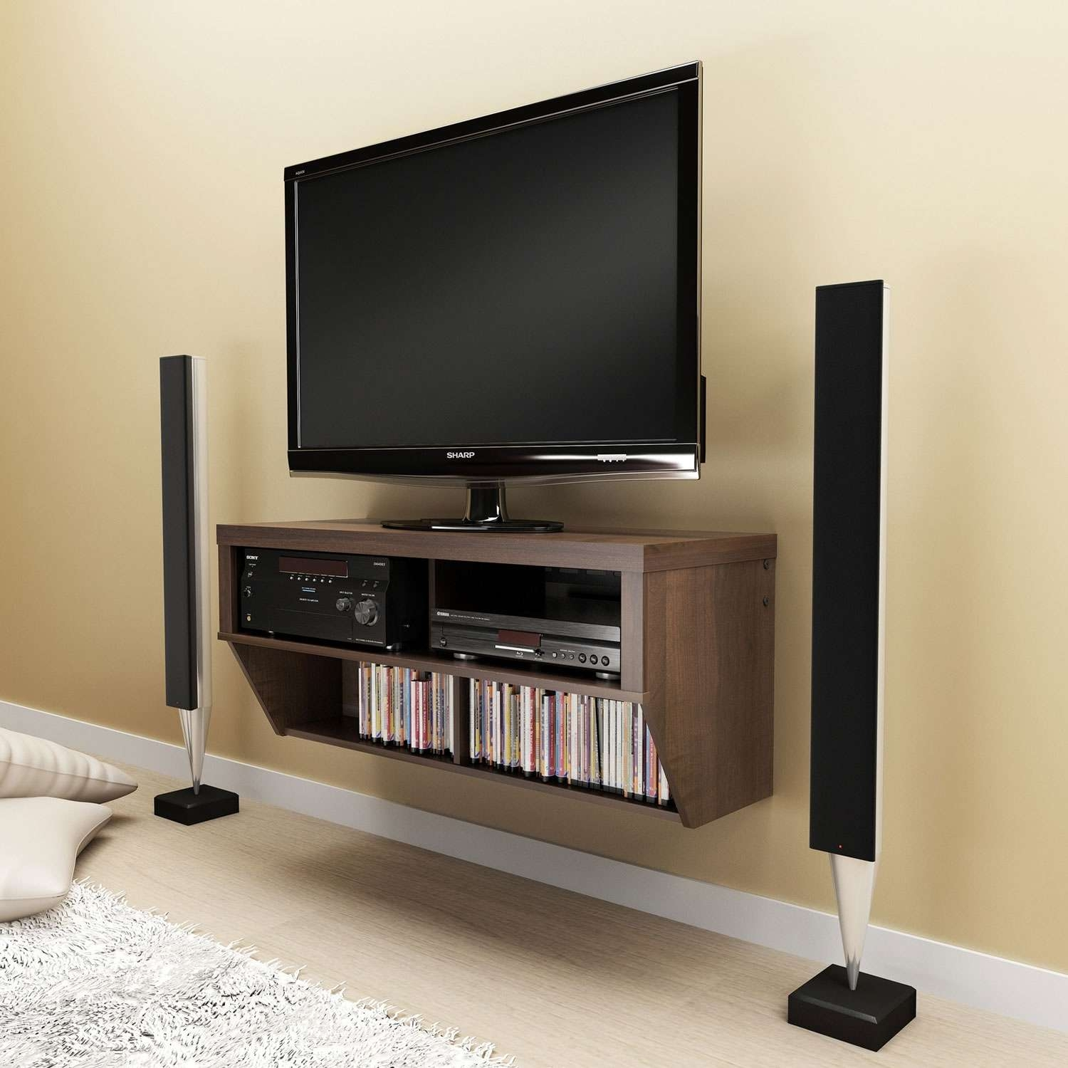 Furniture: Wooden Floated Ikea Modern Tv Stands With Slim Tv Two Within Slim Tv Stands (View 8 of 20)