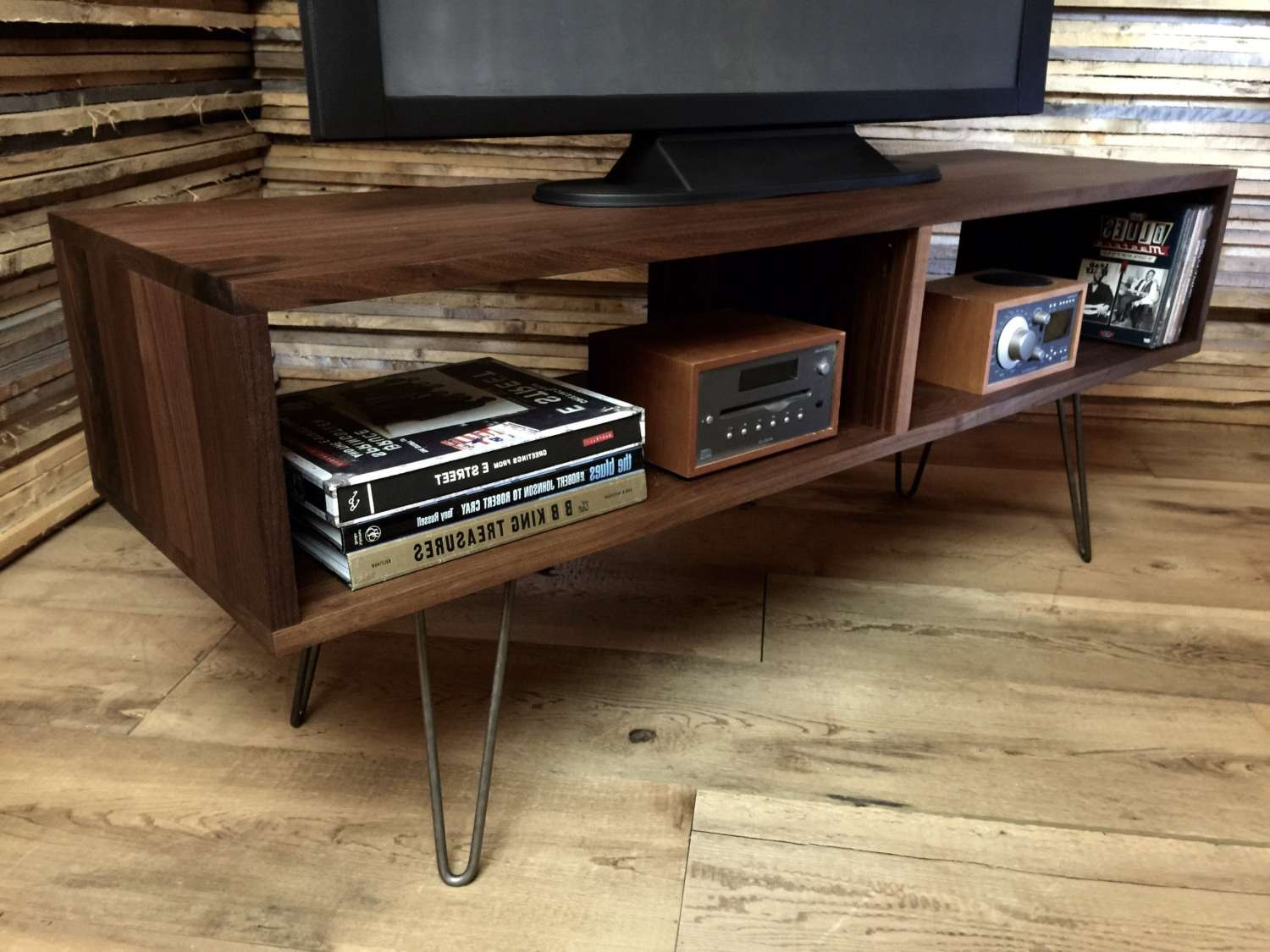 Furnitures Mid Century Modern Tv Stand Hairpin Legs Dark Wood Inside Hairpin Leg Tv Stands (View 4 of 15)