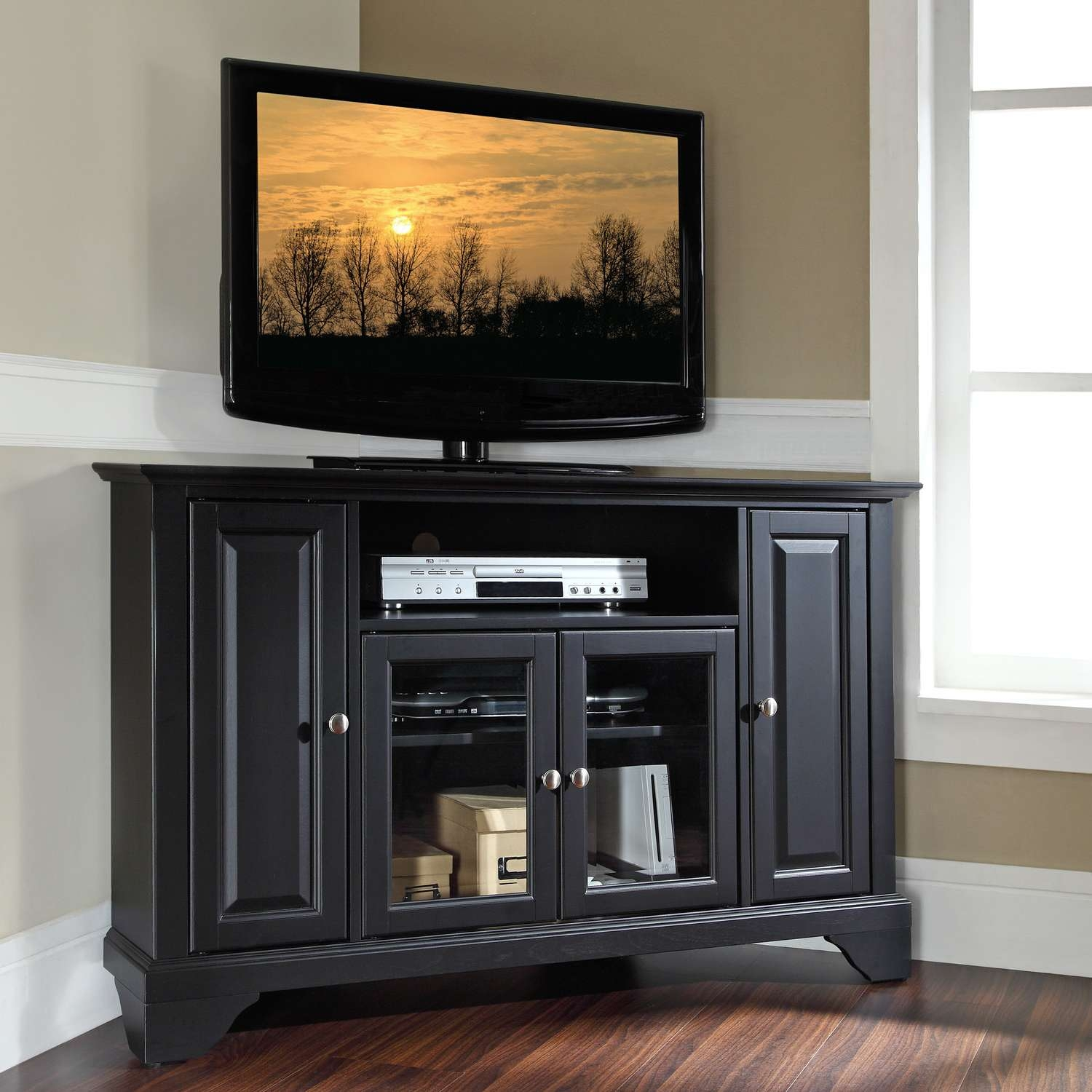 Furnitures Triangle Tv Stand Corner With Mount Black Lacquer Glass Pertaining To Solid Wood Black Tv Stands (View 6 of 15)
