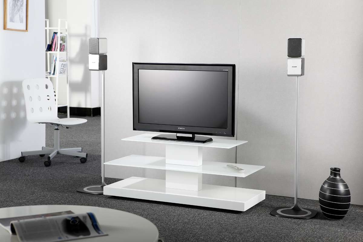 Furnitures Tv Stand For Inch Flat Screen Base With Glossy White With Regard To White Tv Stands For Flat Screens (View 15 of 20)