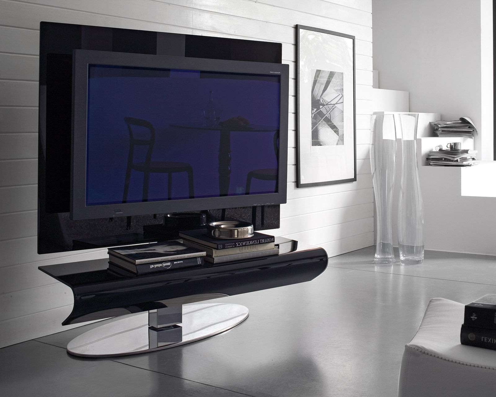 Glossy Black Acrylic Flat Screen Tv Stand With Oval Chromed Metal For Contemporary Tv Stands For Flat Screens (Gallery 7 of 15)