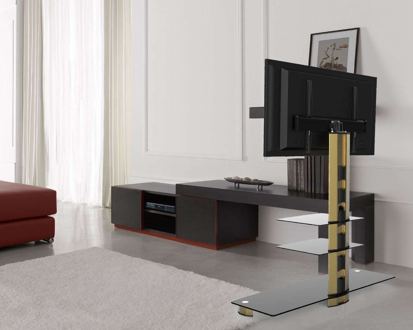 Gold Black Glass Tv Stand Bracket Cantilever 3 Black Shelves Within Gold Tv Stands (View 20 of 20)