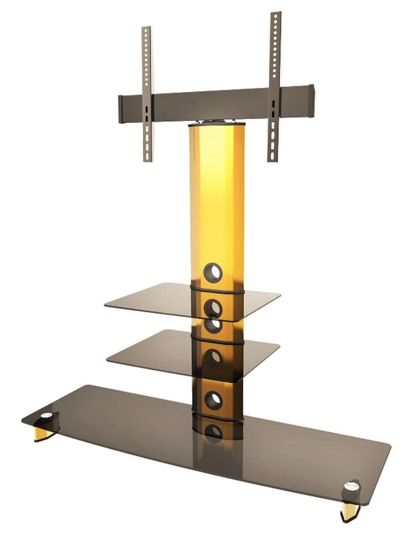 Goldine Gold Black Glass Tv Stand With Bracket Inside Cantilever Glass Tv Stands (View 15 of 20)
